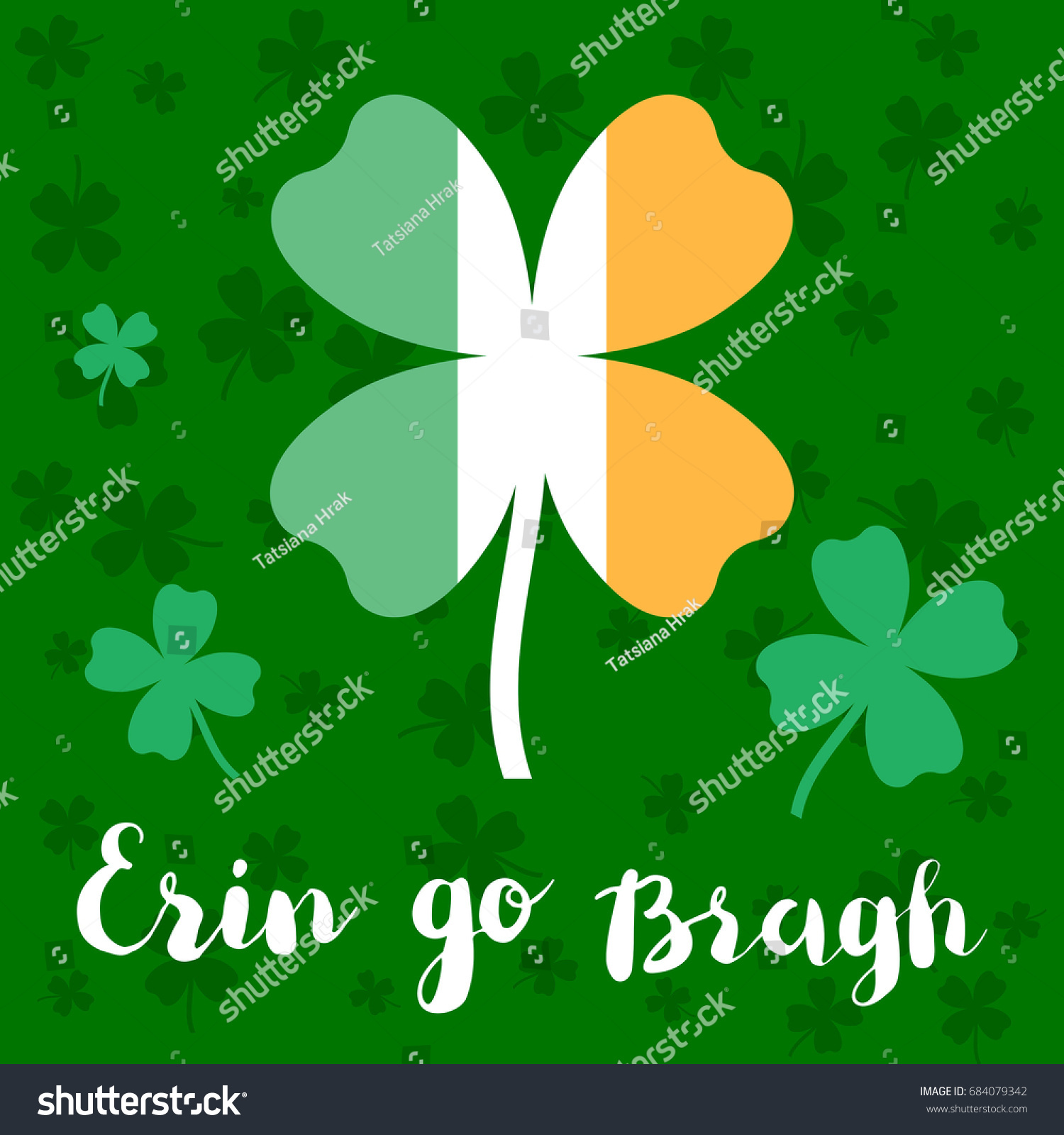 Erin go bragh lettering typography big stock vector hd royalty free erin go bragh lettering typography with big four leaf clover in colors of ireland national m4hsunfo