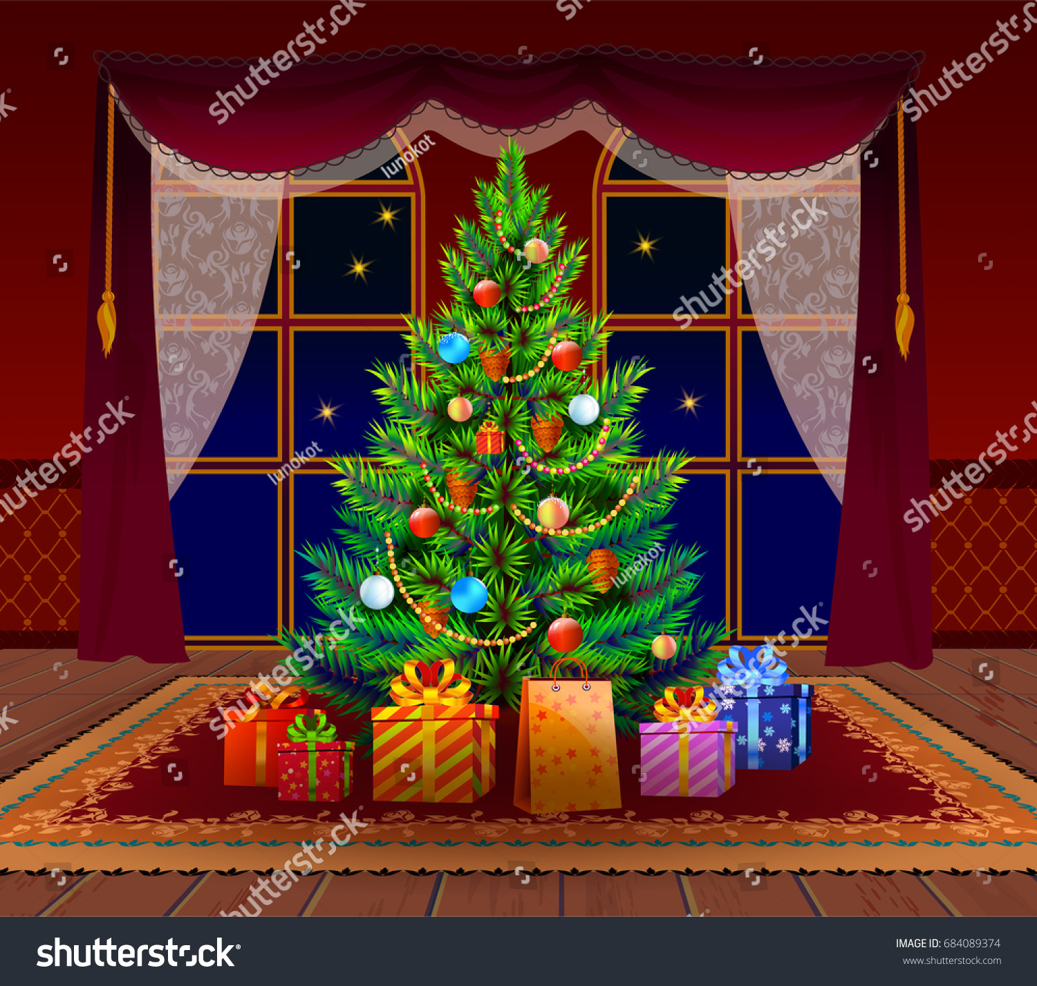 Christmas Tree Living Room Spruce Gifts Stock Vector
