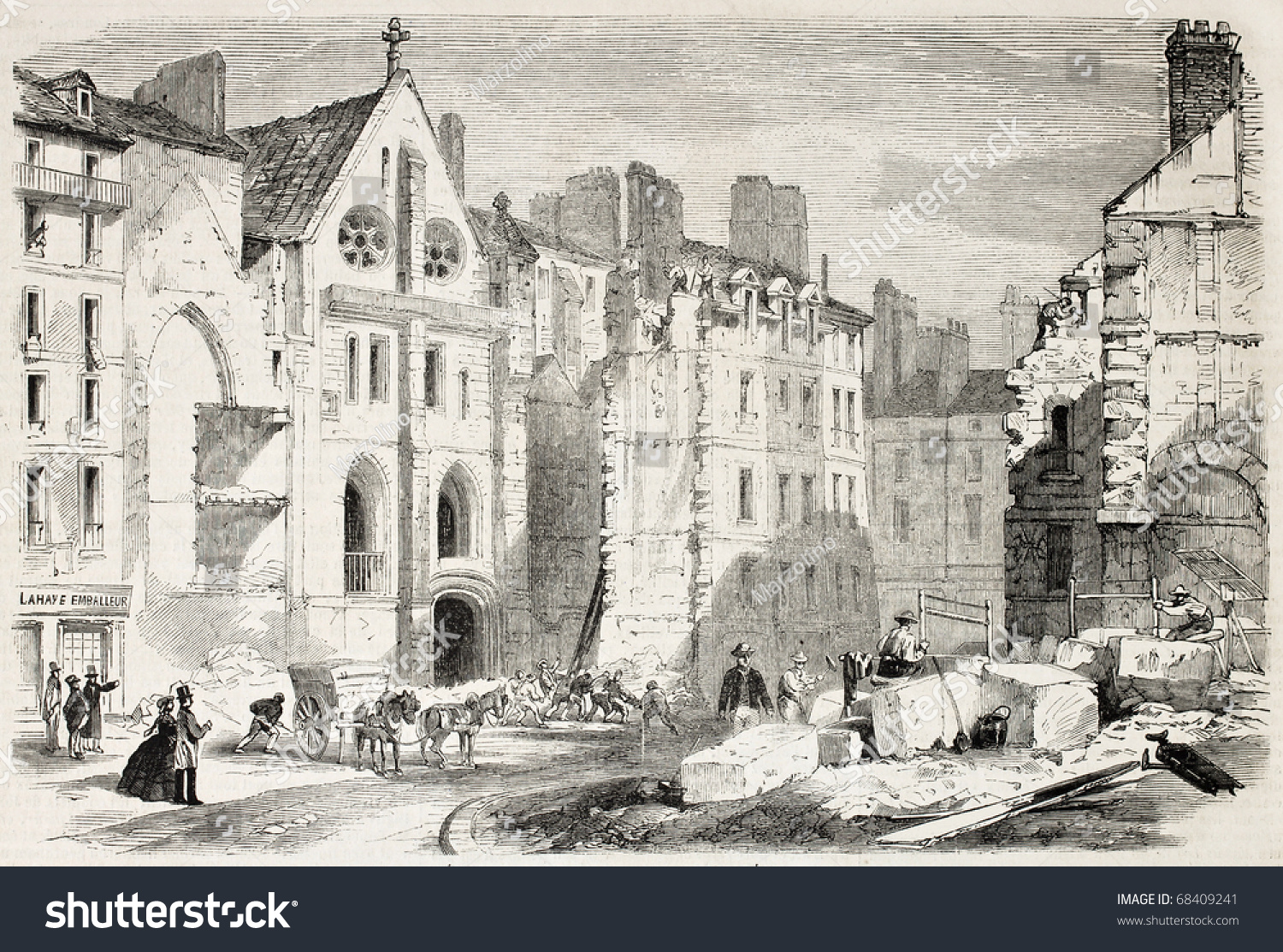 Old illustration demolition ancient cluny college stock