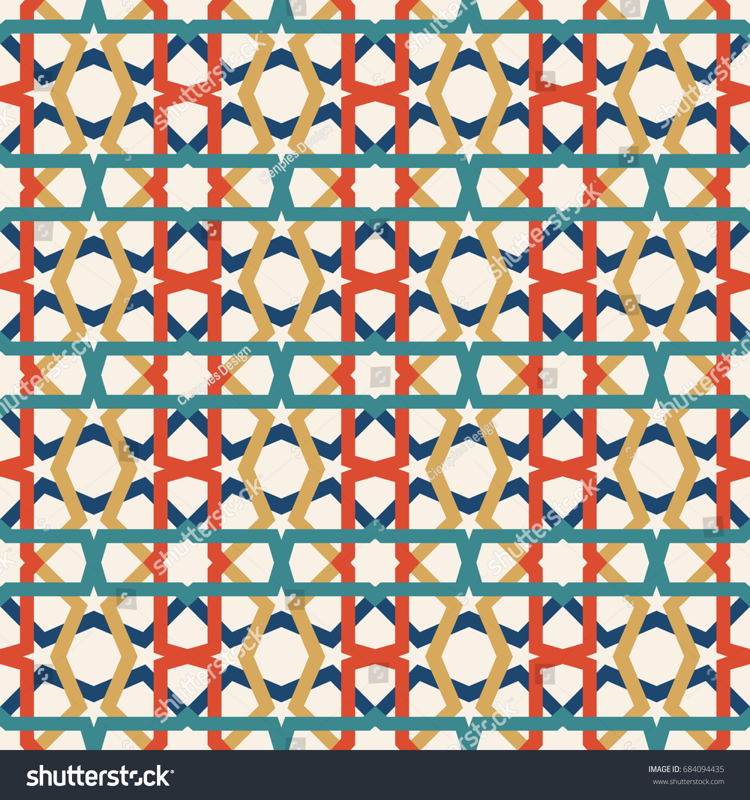 Classic Ceramic Mosaic Tile Seamless Pattern Stock Vector (Royalty ...