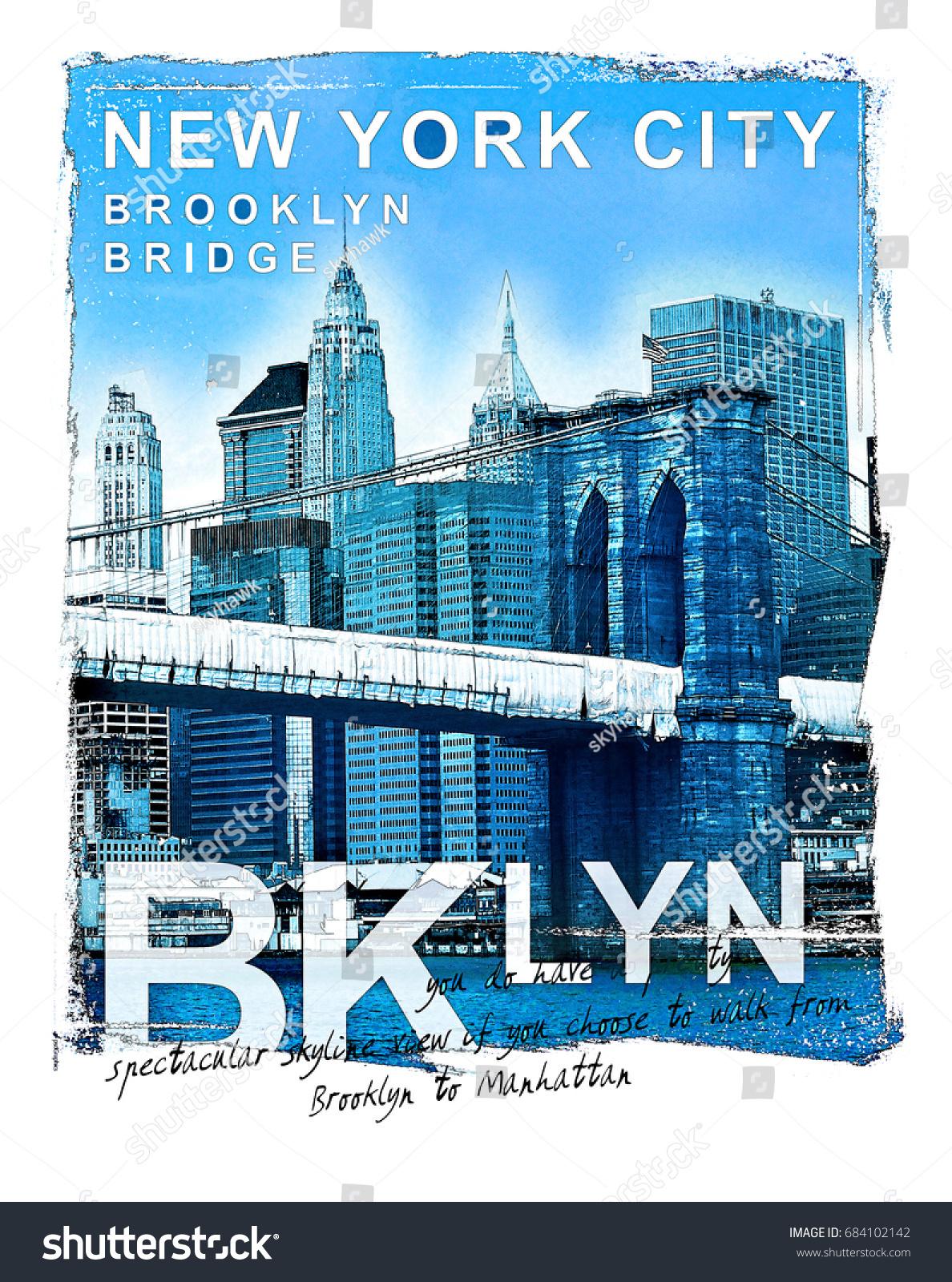 f00eef70 photo print Brooklyn , bridge illustration, tee shirt graphics, typography