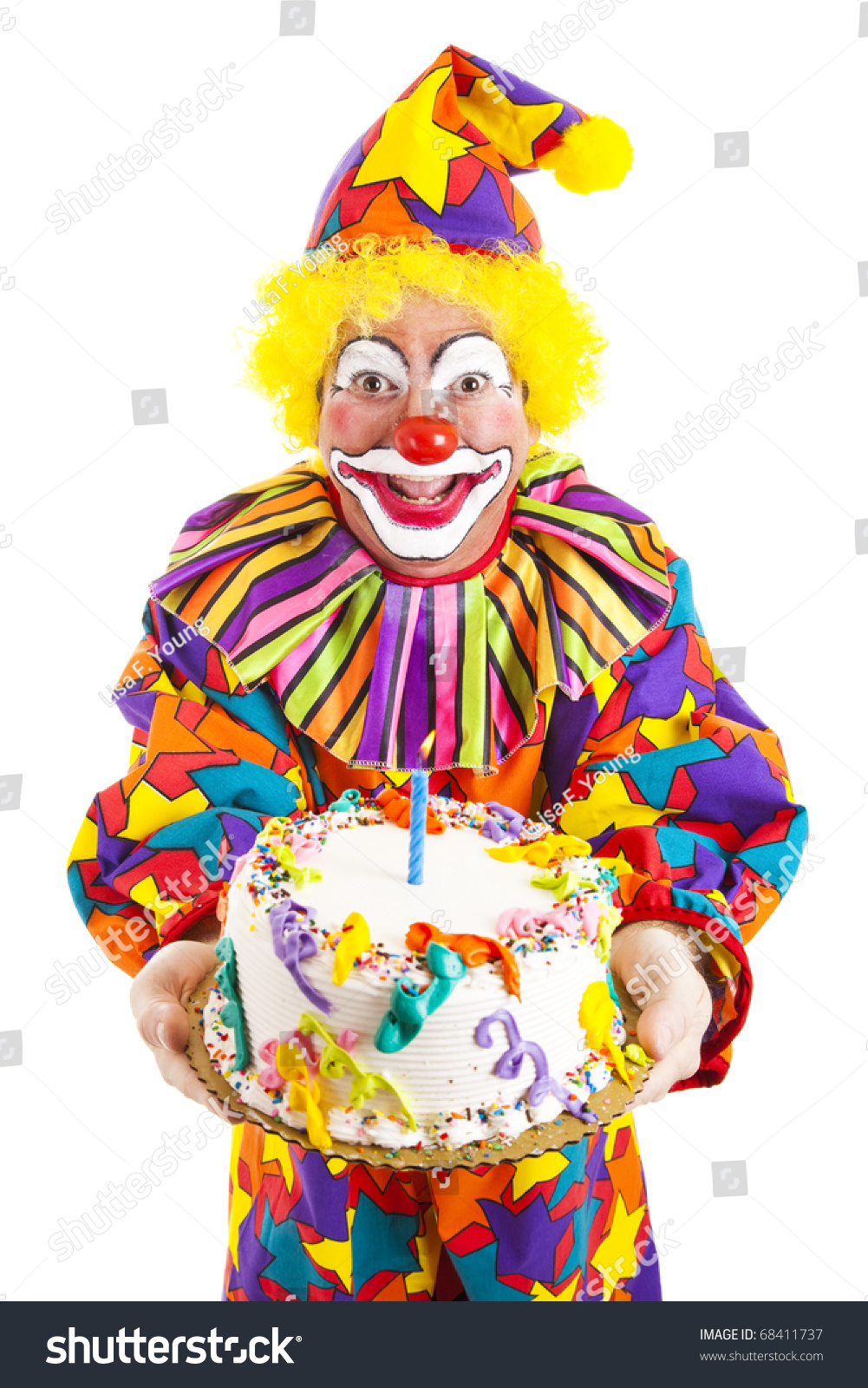Colorful Clown Holding Birthday Cake Isolated Stock Photo Download