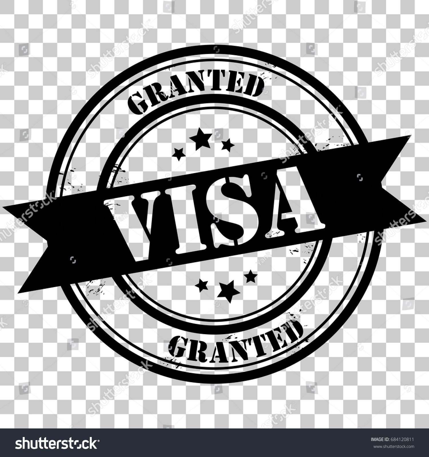 Visa granted rubber stamp icon black stock vector 684120811 visa granted rubber stamp icon black watermark stamp logo with text and stars eps10 biocorpaavc Choice Image