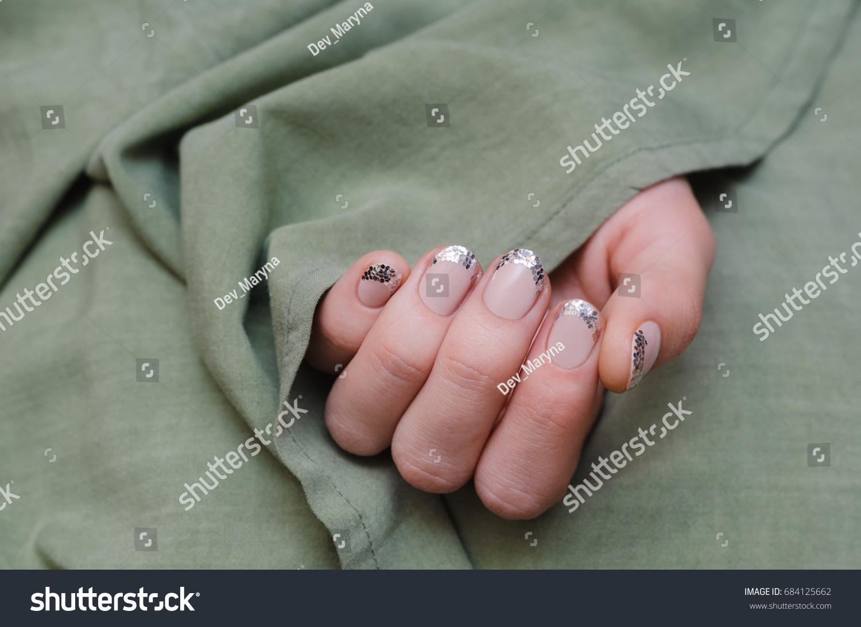 Beautiful Female Hand Glitter French Nail Stock Photo (Royalty Free ...