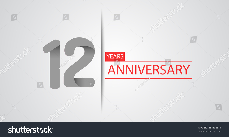 12 Years Simple Anniversary Celebration Logo Stock Vector Royalty