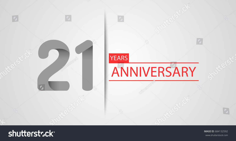 21 Years Simple Anniversary Celebration Logo Stock Vector Royalty