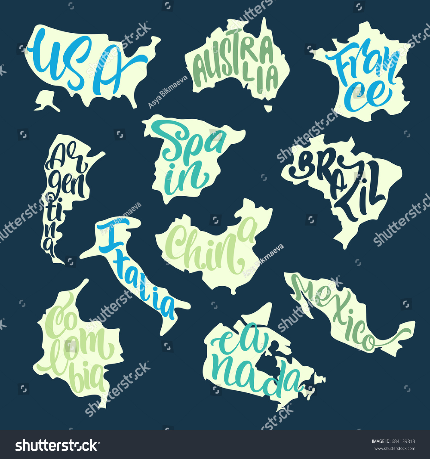 Handwritten Lettering Country Names Inscribed Silhouette Stock