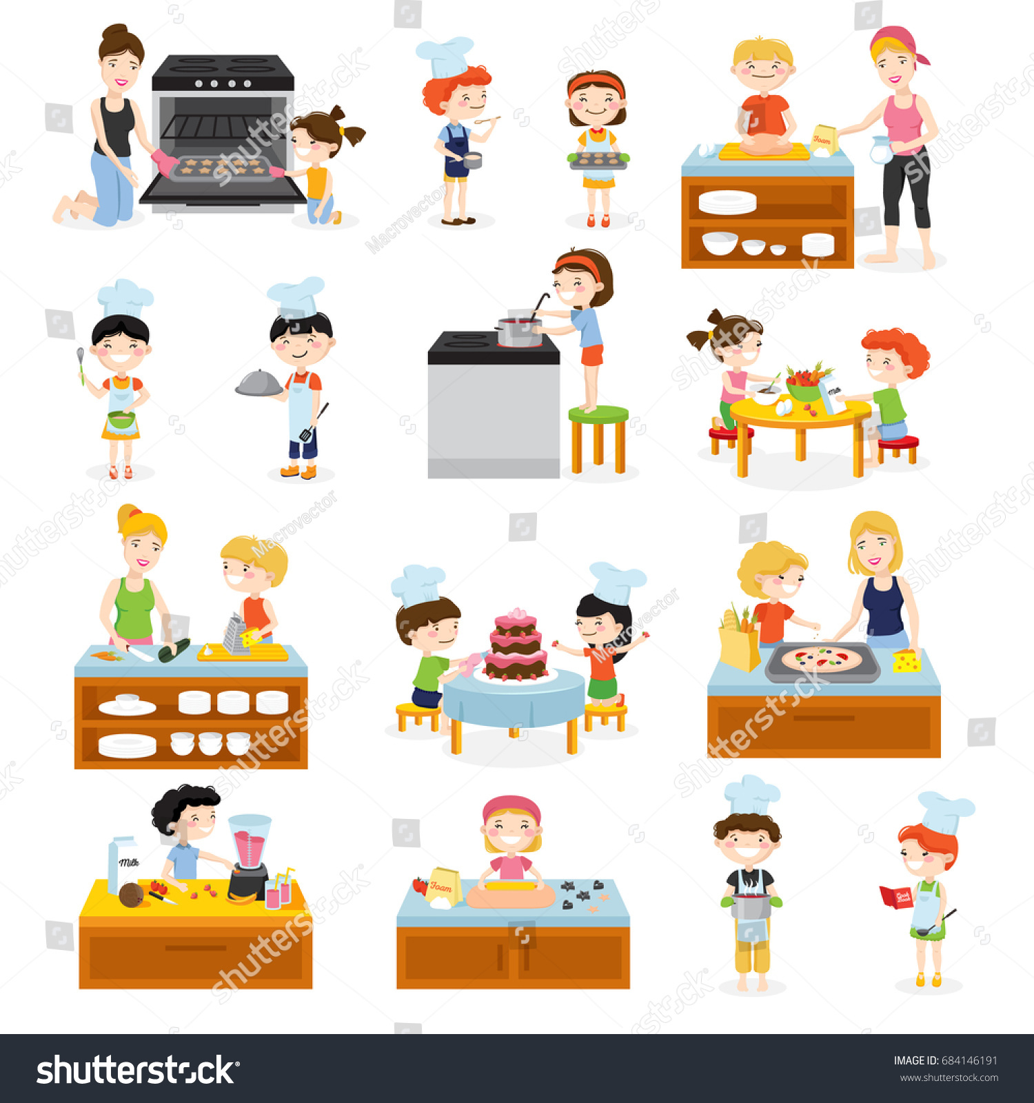 Cartoon Kids Cooking Set Children Adults Stock Vector (2018 ...