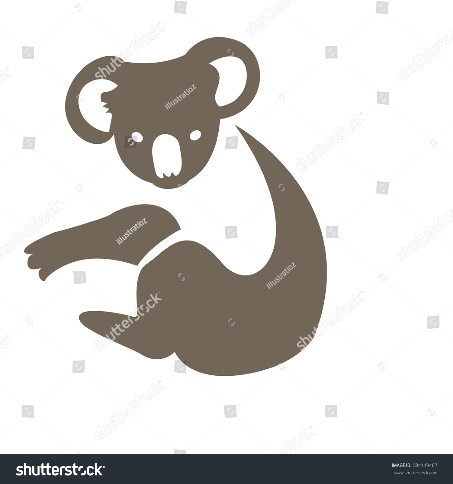 isolated abstract koala on white background stock vector 684149467