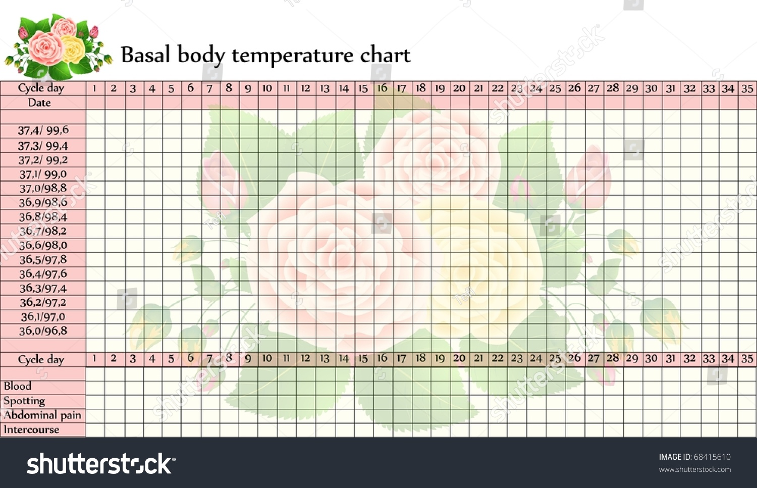 Vector Basal Body Temperature Chart Celsius Vector 68415610 – Celsius to Fahrenheit Charts