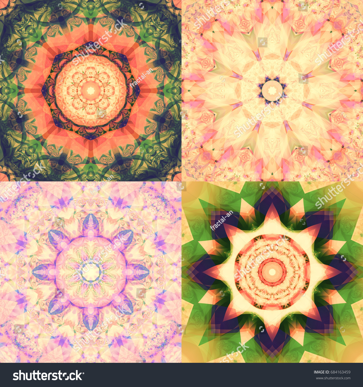 set abstract colorful fractals kaleidoscopical seamless stock