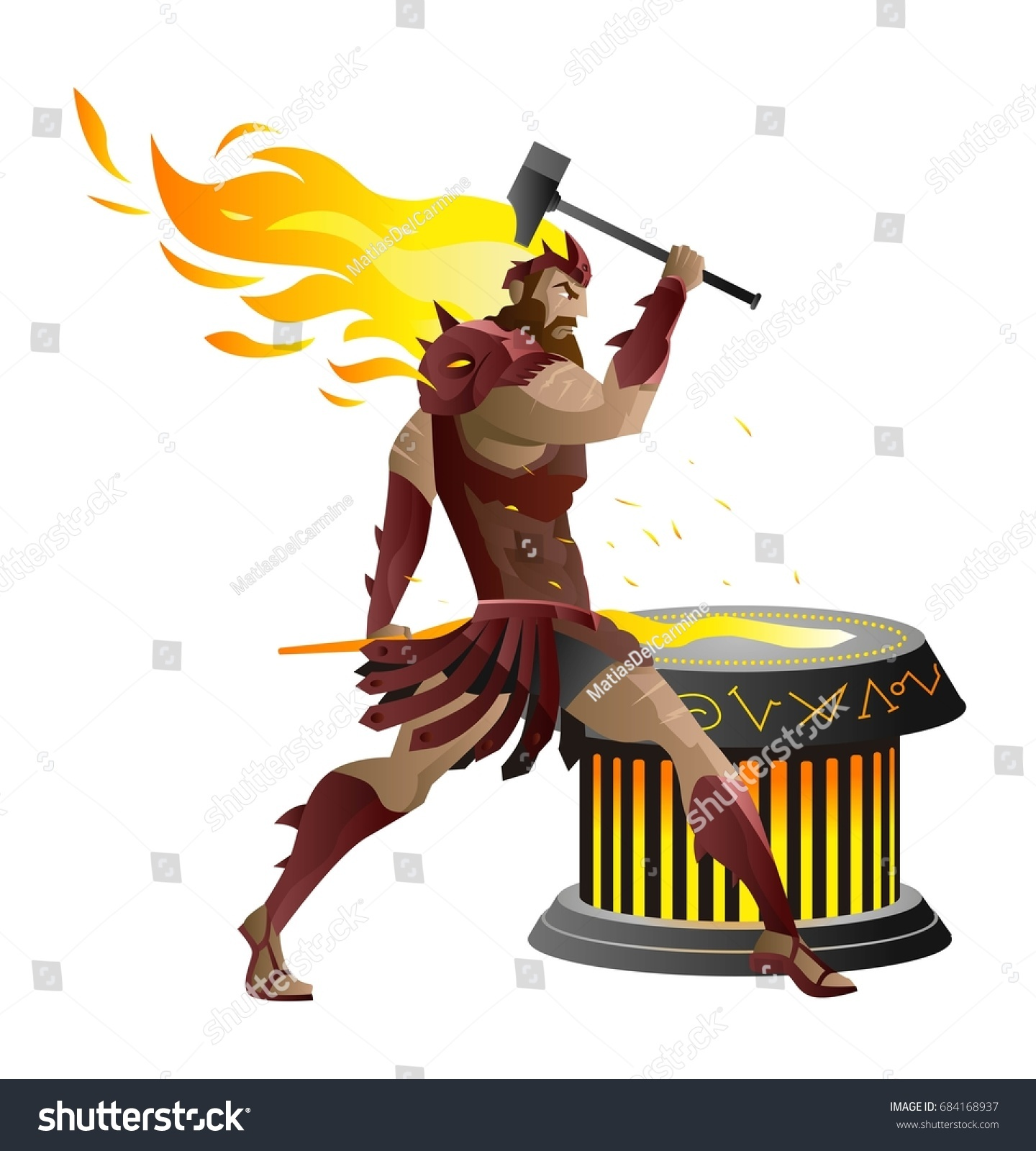 Vulcan Hephaestus Greek Roman Mythology God Stock Vector Royalty