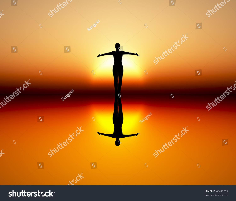 Dancing Girl Rising Sun Symbol Wealth Stock Illustration 68417065