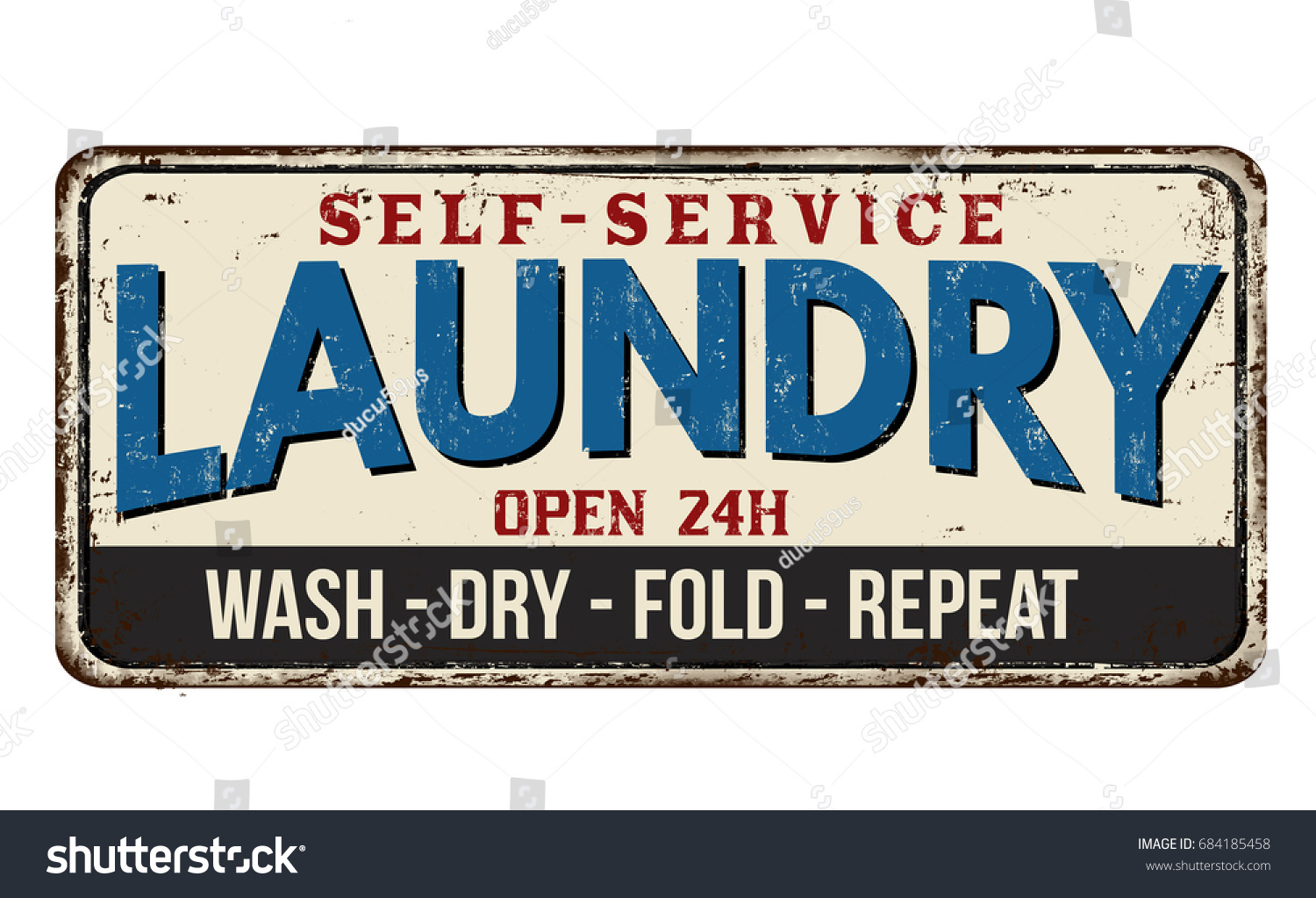 Metal Laundry Sign Laundry Funny Vintage Rusty Metal Sign Stock Vector 684185458