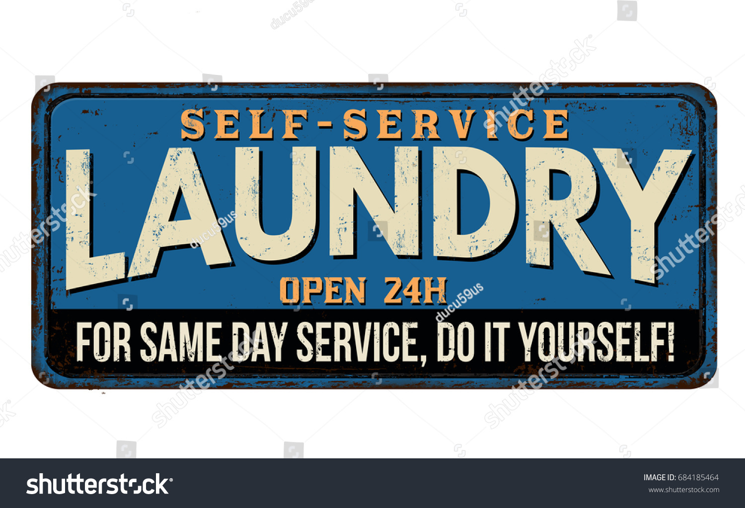Metal Laundry Sign Laundry Funny Vintage Rusty Metal Sign Stock Vector 684185464
