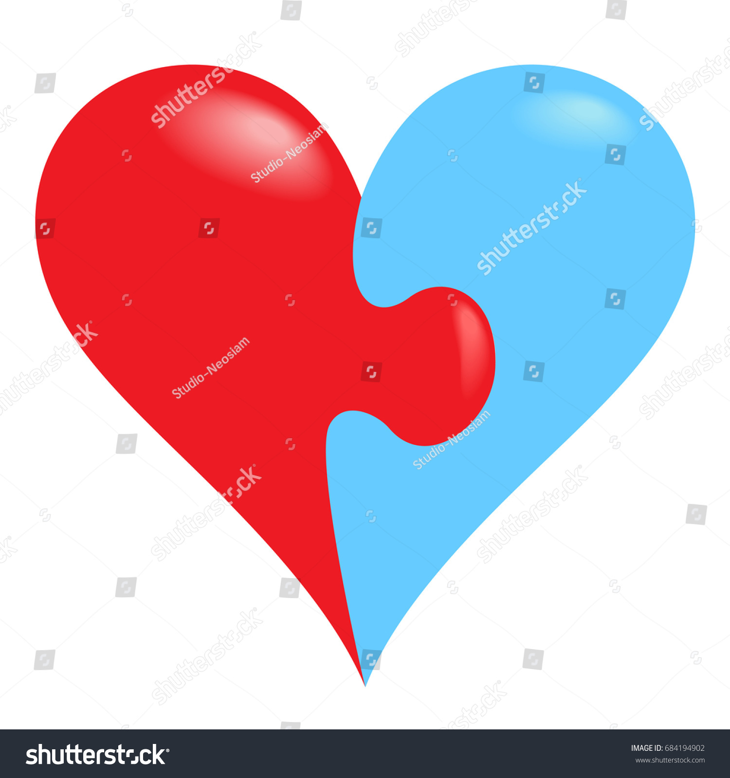 Jigsaw Puzzle Pieces Form Heart Isolated Stock Vector (Royalty Free ...