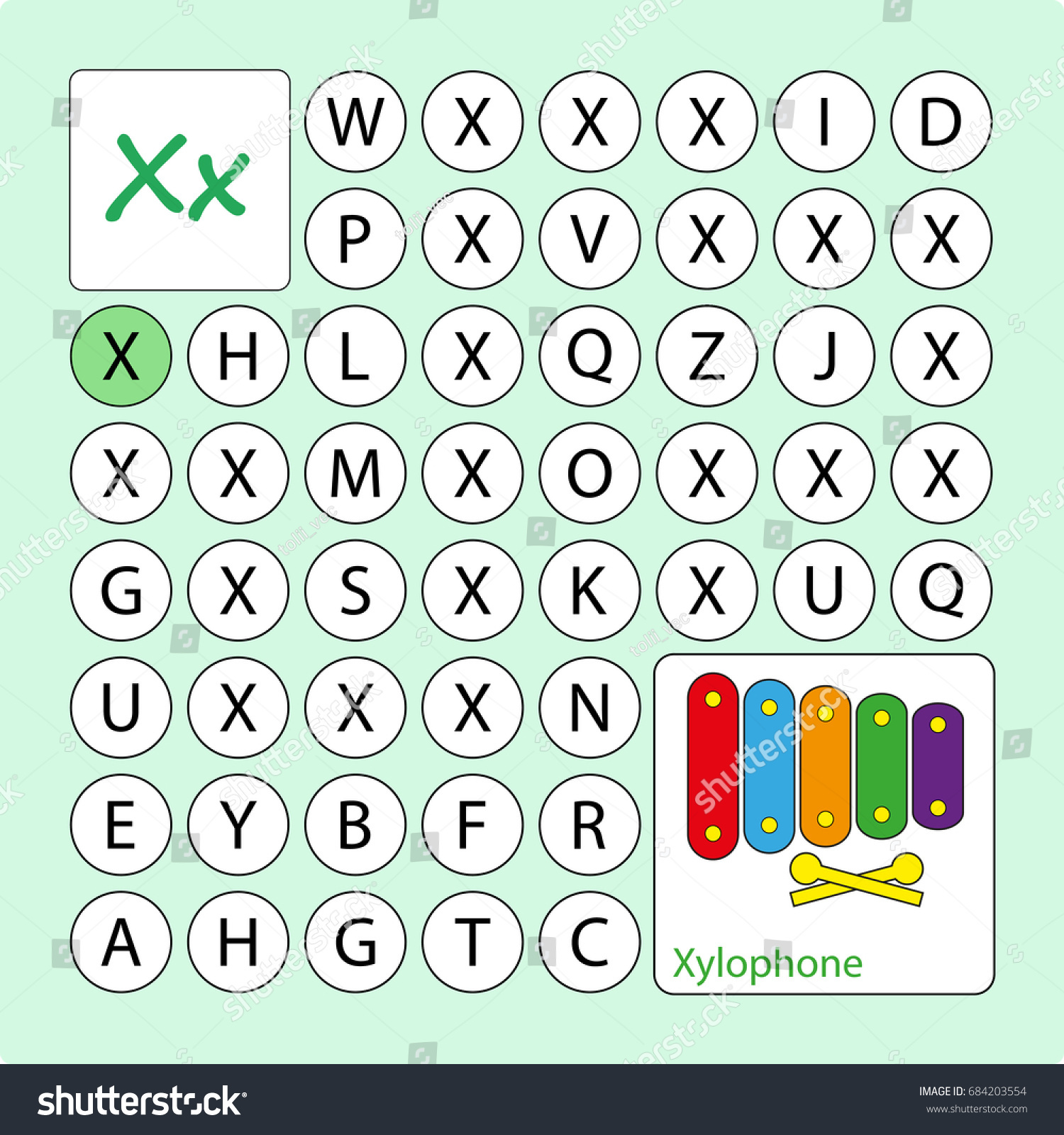 Alphabetical Puzzle Labyrinth Learning Letter X Stock Vector ...