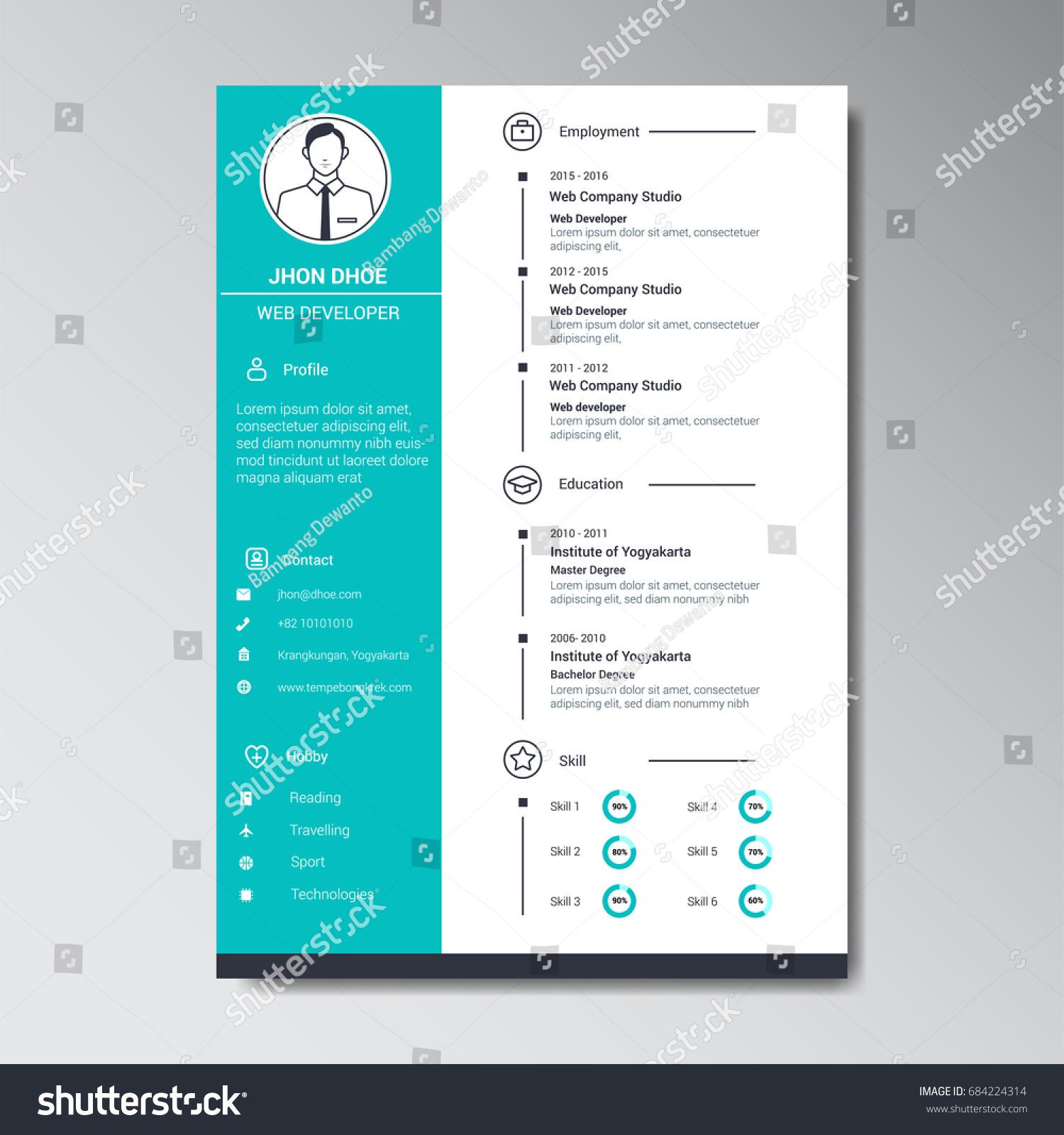 Unique Flat Color Curriculum Vitae Design Vector de stock (libre de ...