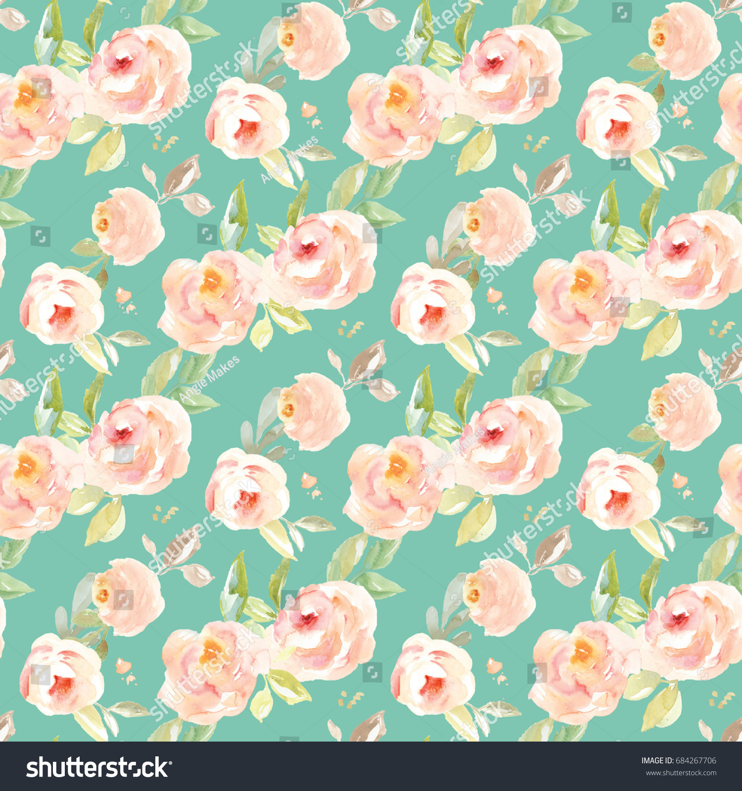 Cute Seamless Teal Floral Background Vintage Stock Illustration
