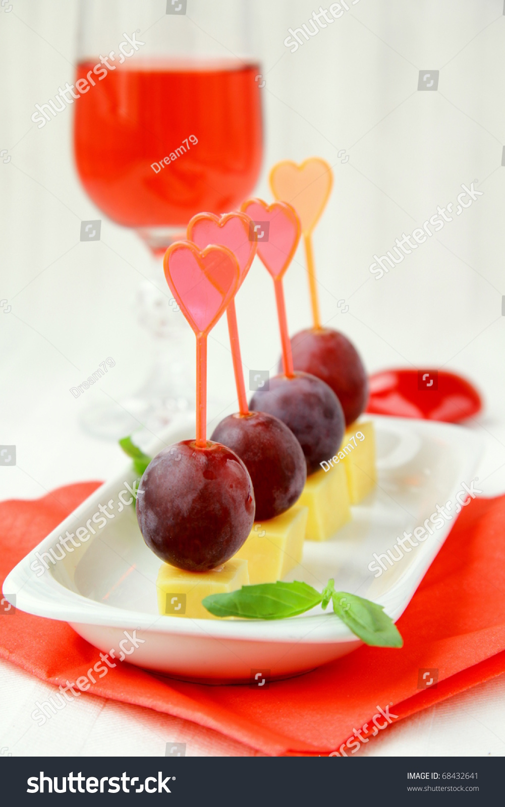 appetizers canapes cheese grapes valentines day stock photo 68432641 shutterstock