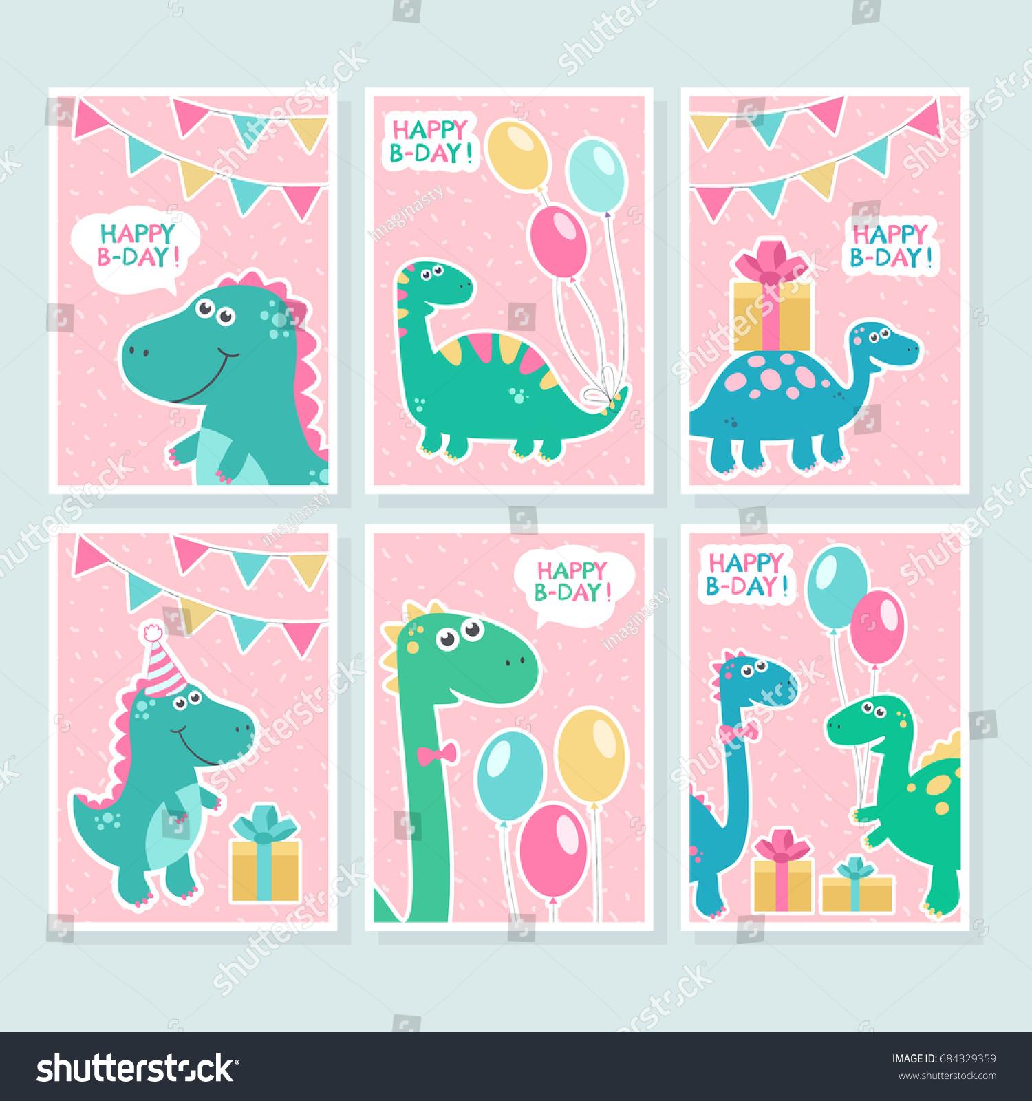 Cute Vector Cards Set Dinosaurs Balloons Vector 684329359 – Birthday Greetings Design