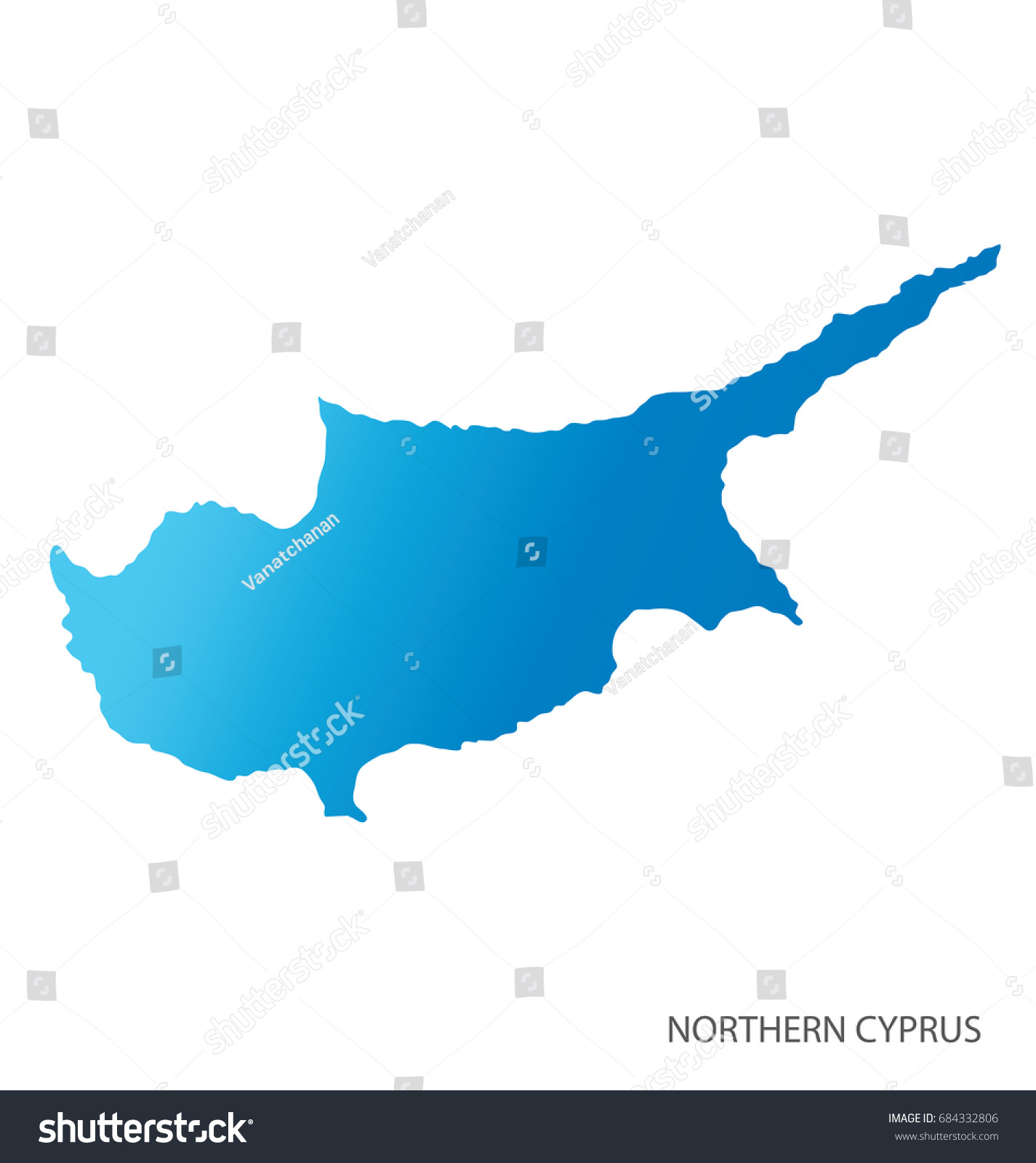 Map Northern Cyprus Stock Vector 684332806 Shutterstock