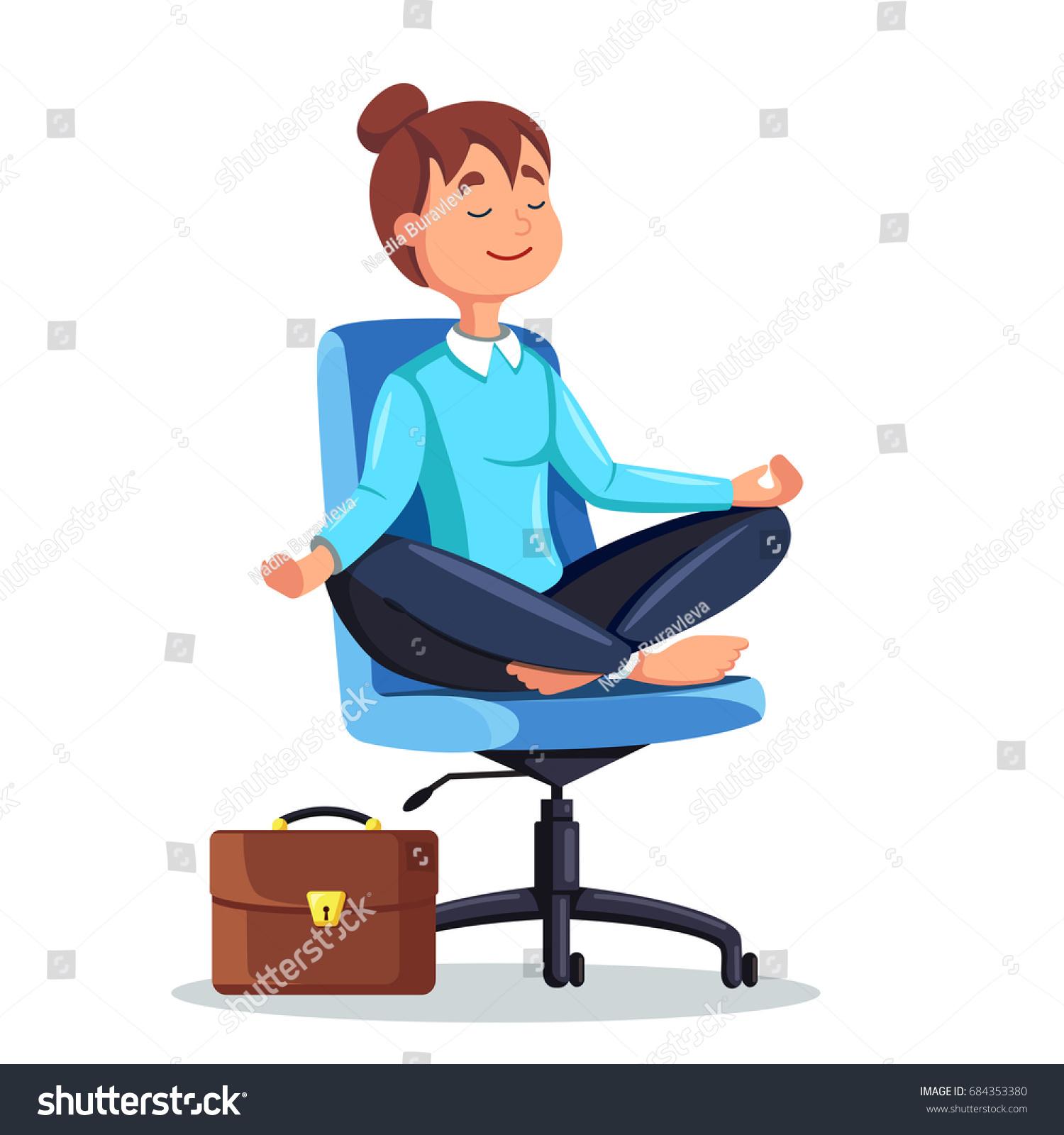 Business Woman Meditating Lotus Pose Stock Vector