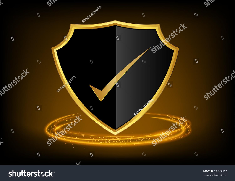 Golden check mark icon tick symbol stock vector 684368209 shutterstock golden check mark icon tick symbol in black shield gold border color vector illustration biocorpaavc Image collections