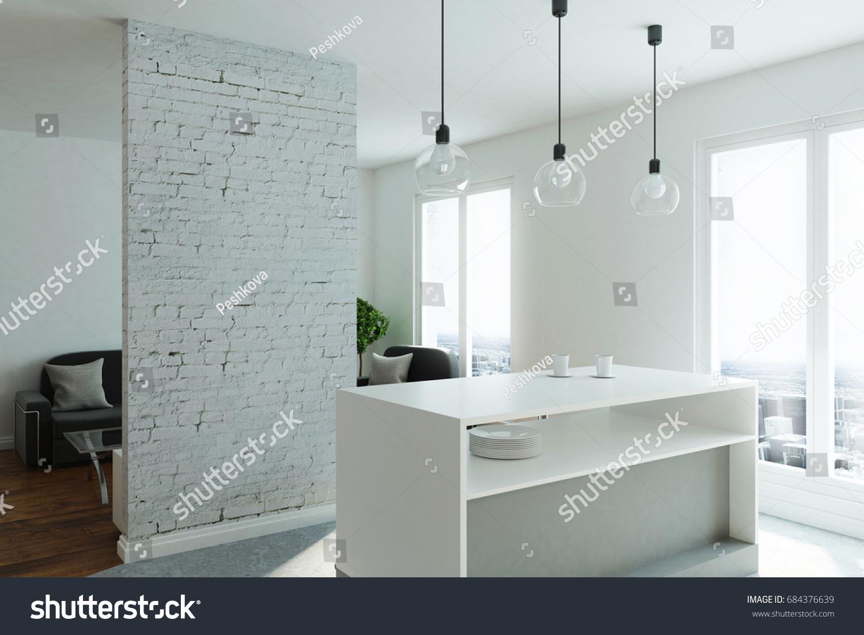 Modern Studio Flat Kitchen Living Room Stock Illustration