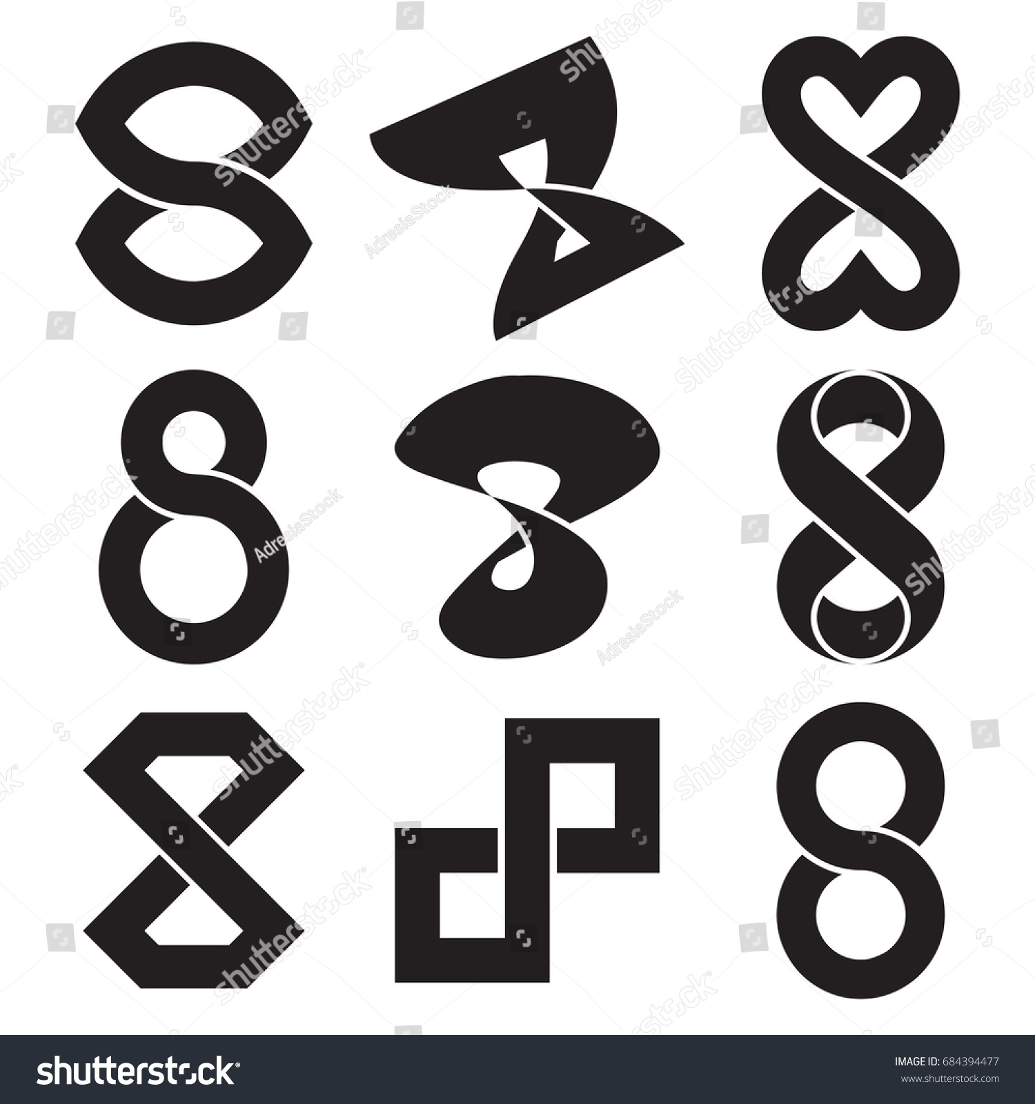 Set Infinity Symbol Black Stock Vector Royalty Free 684394477