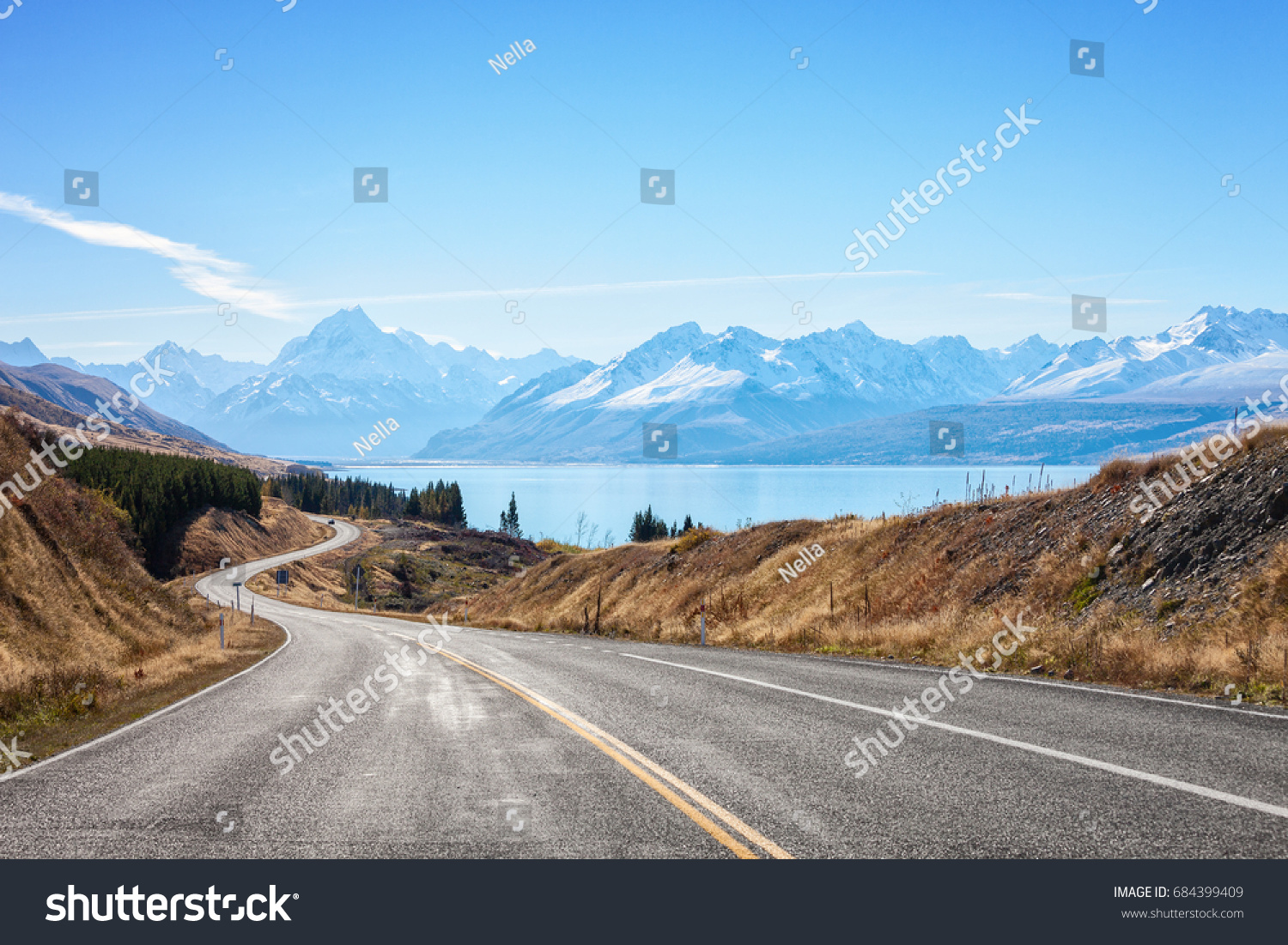 Scenic Road to Mount Cook National Park (near  Lake Pukaki) ,South Island, New Zealand. #684399409 - 123PhotoFree.com