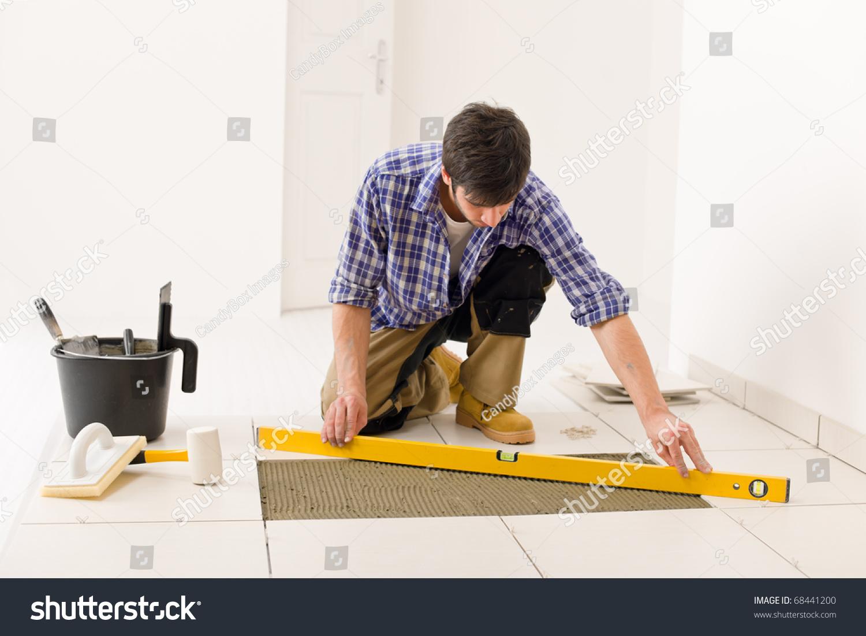 Home Tile Improvement Handyman Level Laying Stock Photo Edit Now