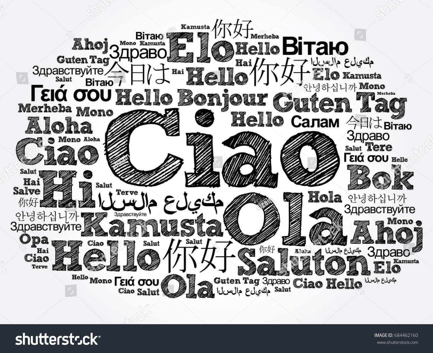 Ciao hello greeting italian word cloud stock illustration 684462160 ciao hello greeting in italian word cloud in different languages of the world m4hsunfo