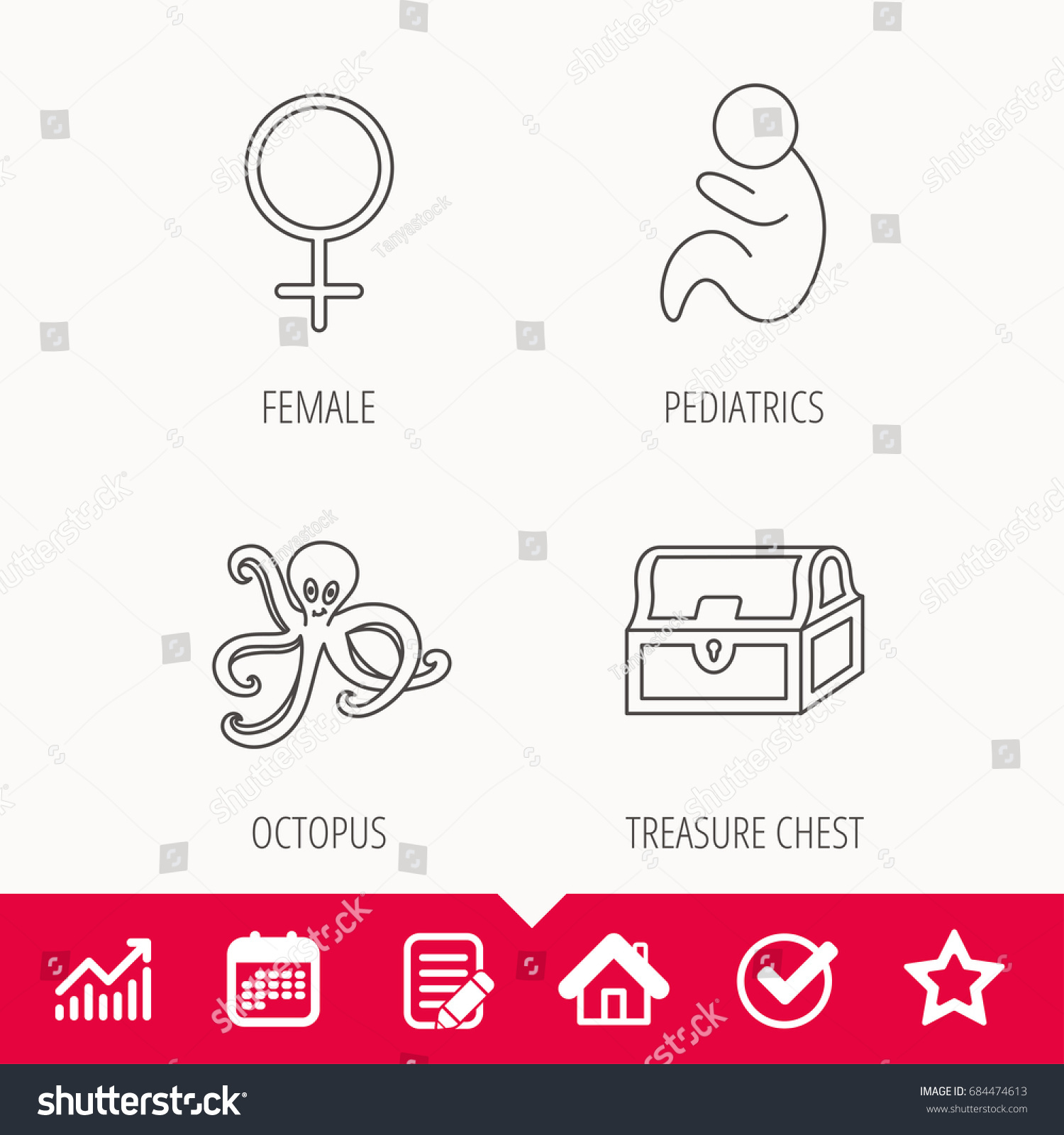 Female treasure chest pediatrics icons octopus stock vector female treasure chest and pediatrics icons octopus linear sign edit document calendar nvjuhfo Gallery