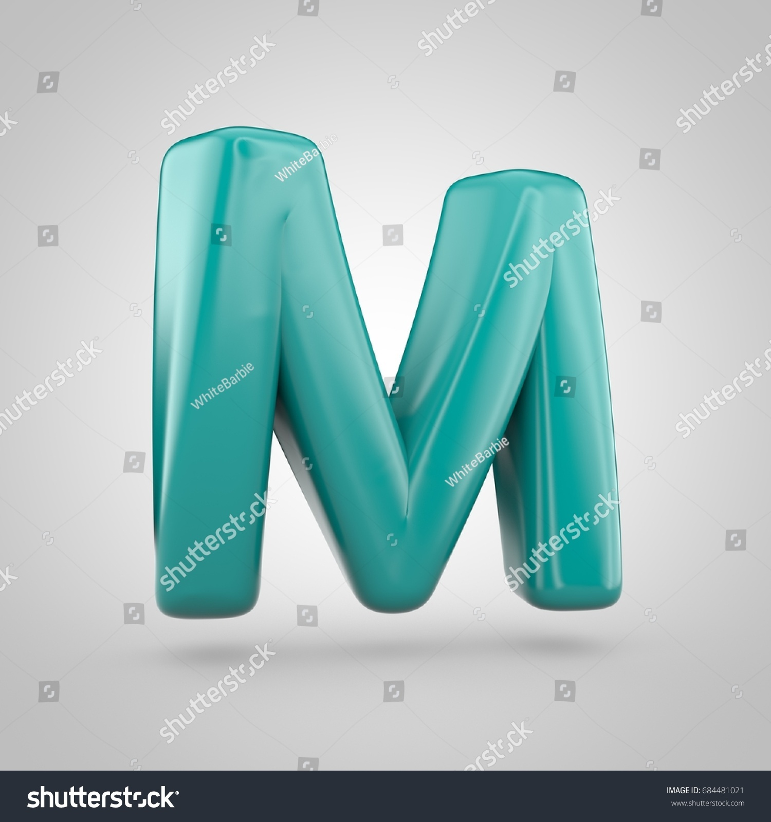 glossy marrs green color alphabet letter m uppercase 3d render of bubble twisted font with