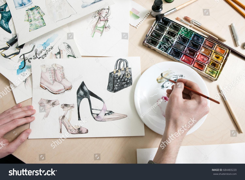 Fashion Designer Mixes Colours Paint Process Stock Photo Edit Now 684483220