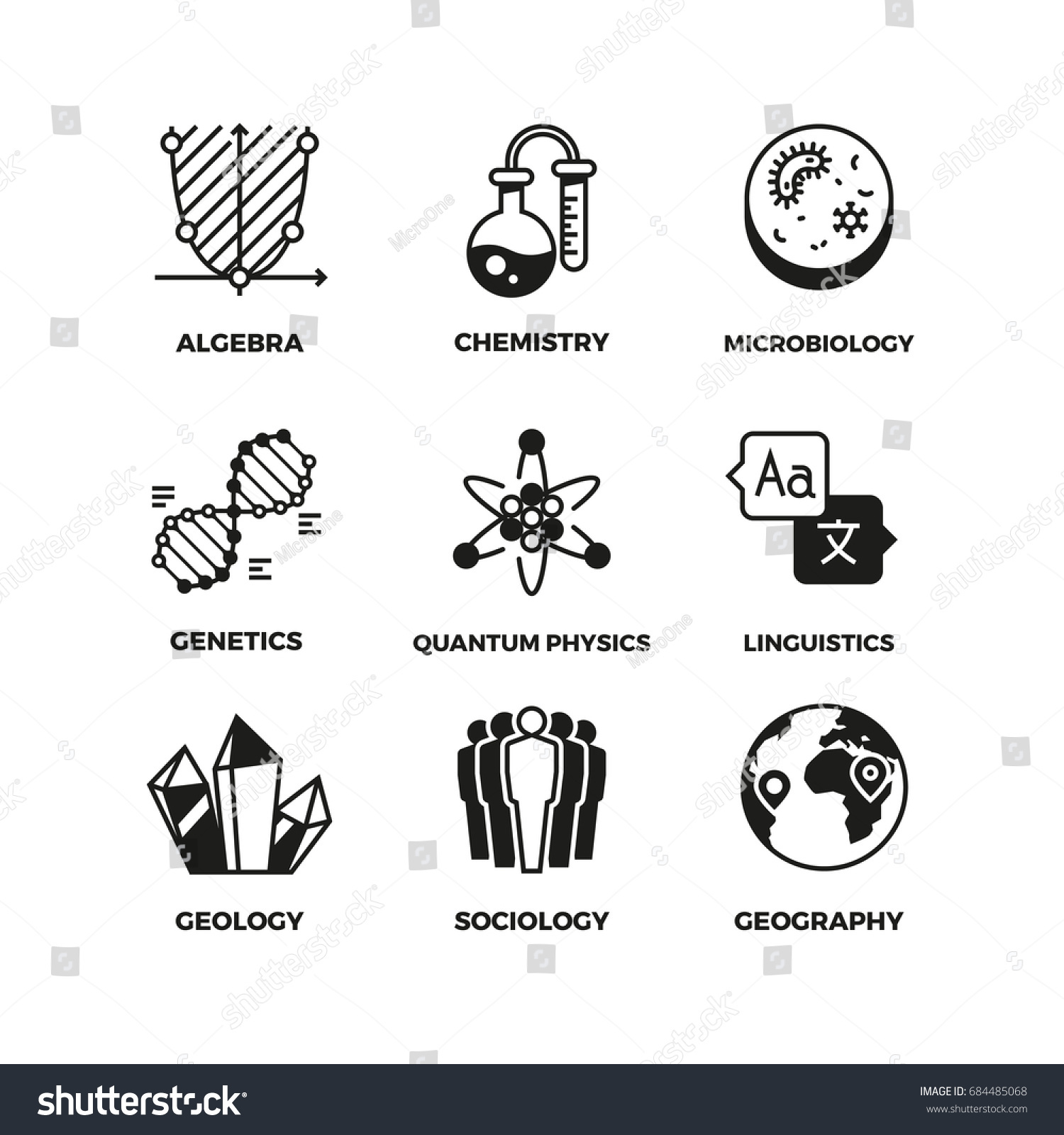 Science vector pictograms genetics algebra chemistry stock vector genetics and algebra chemistry and biology geography and sociology biocorpaavc Choice Image