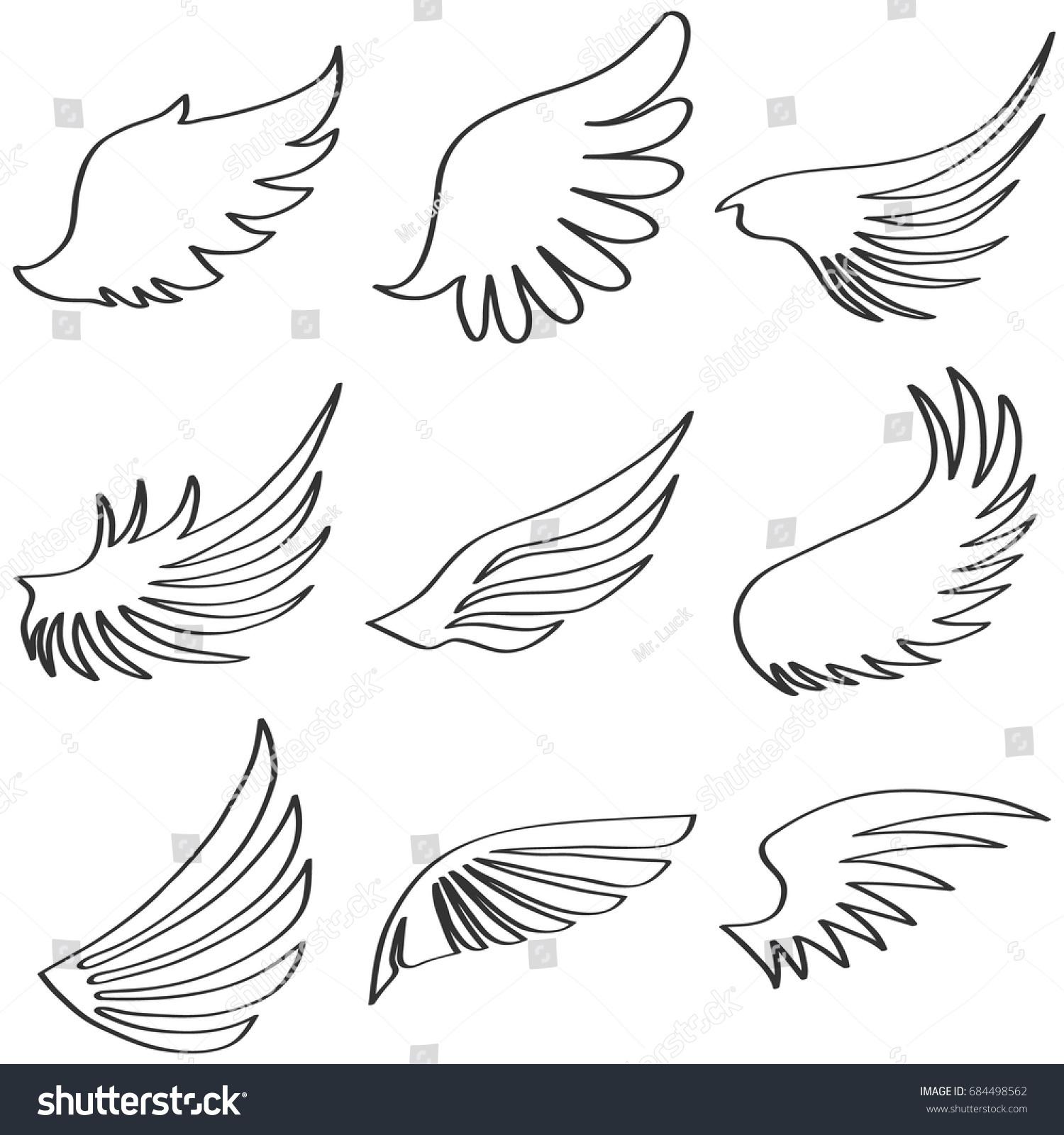 wings angel black white wings angel stock vector 684498562