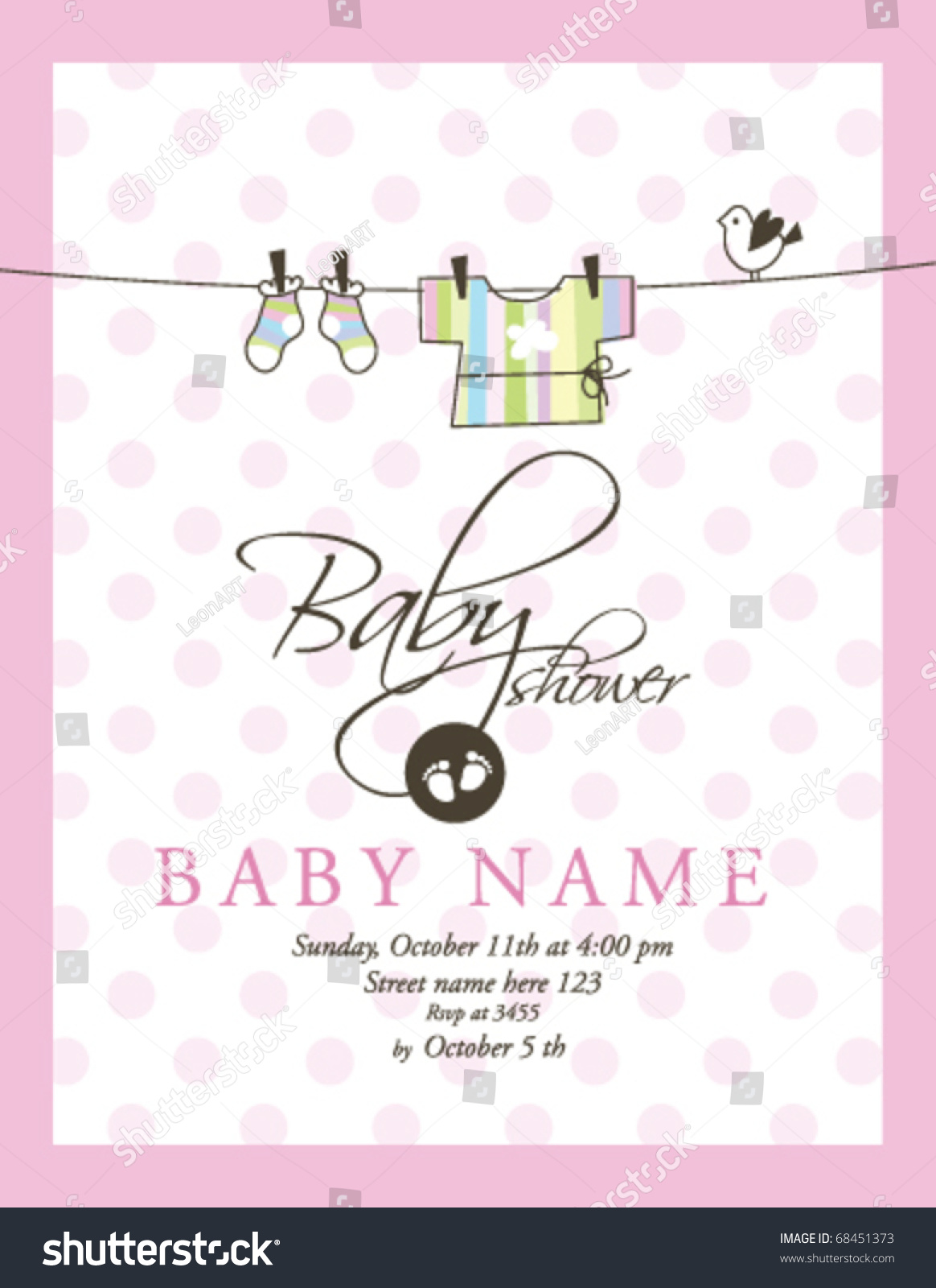 baby shower card template stock vector illustration 68451373