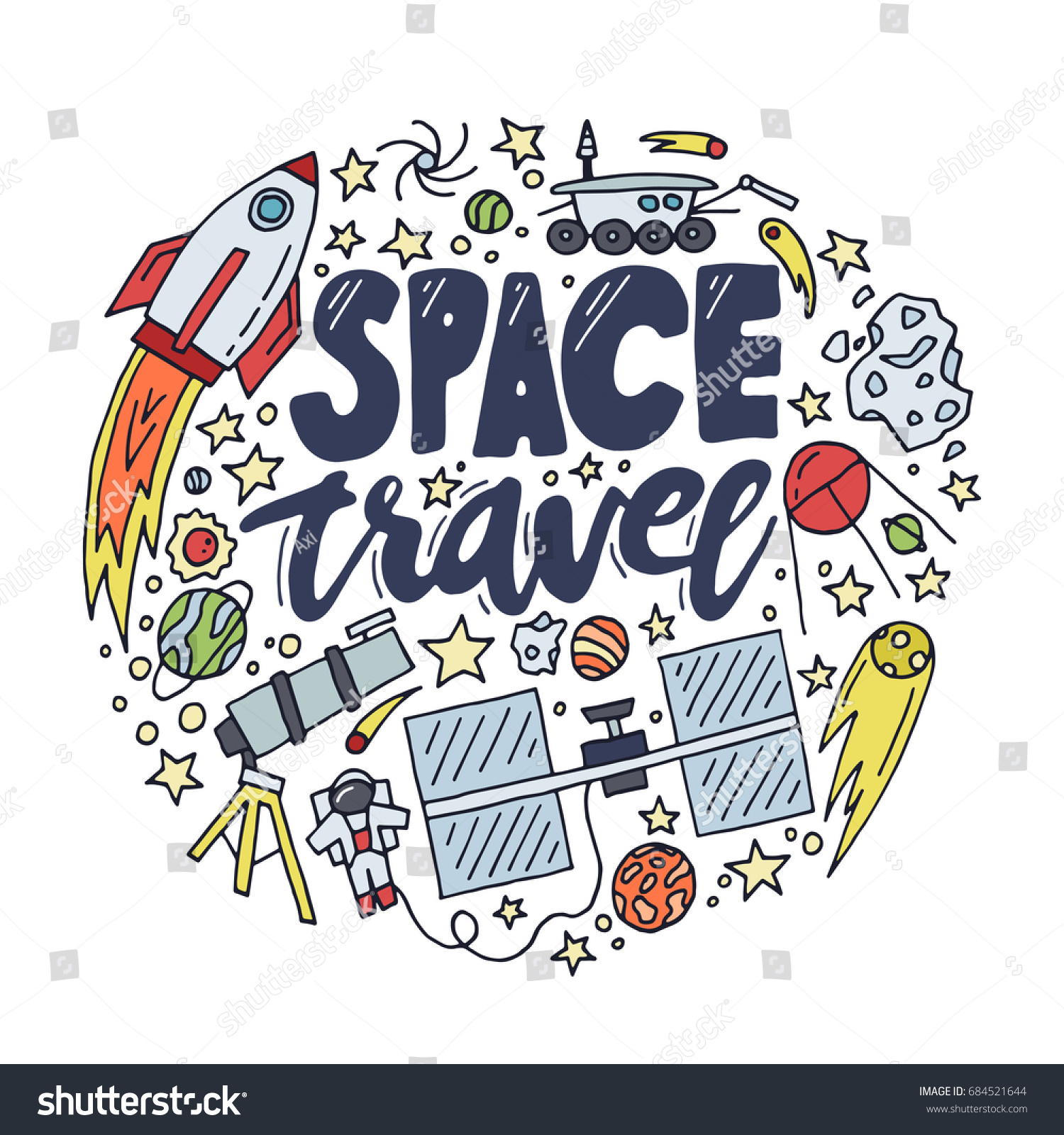 Space travel vector illustration. Cosmos discovery and exploration poster.  Doodle style, cartoon design