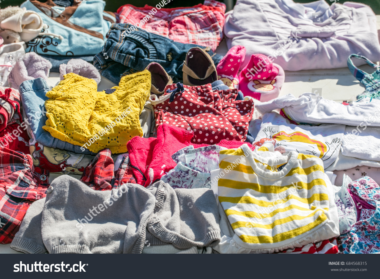 Display Second Hand Baby Children Clothes Stock Photo 100 Legal