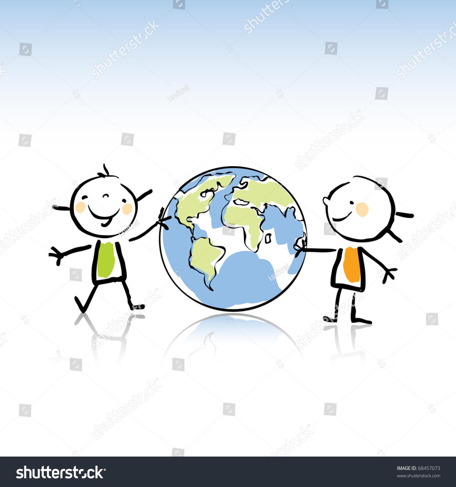 Two Happy Kids Holding Globe Vector Stock Vector 68457073 ...