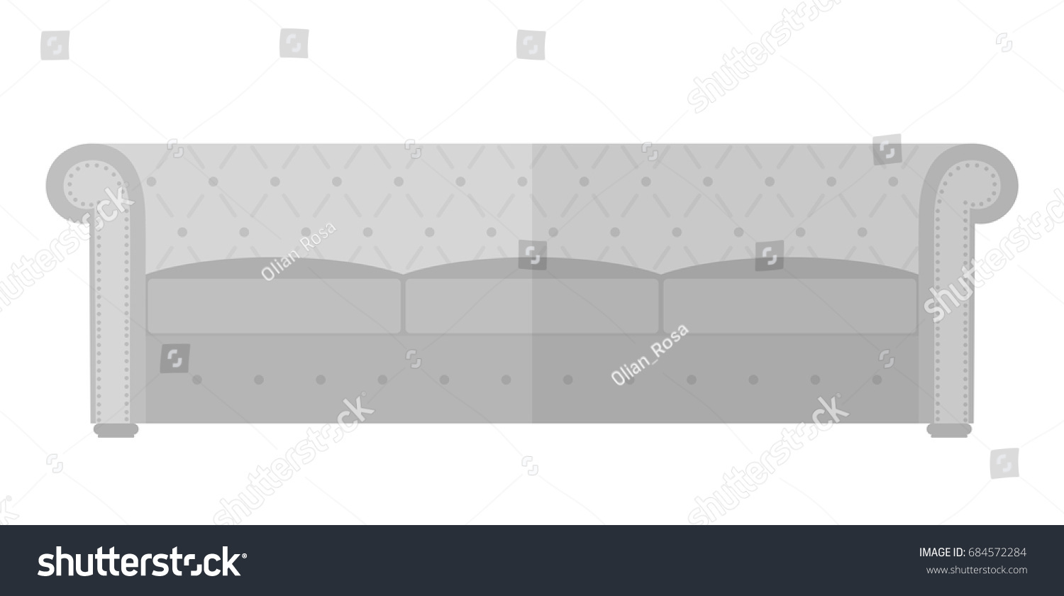 Vintage Sofa Chesterfield Interior Design Elements Furniture Isolated On White Background