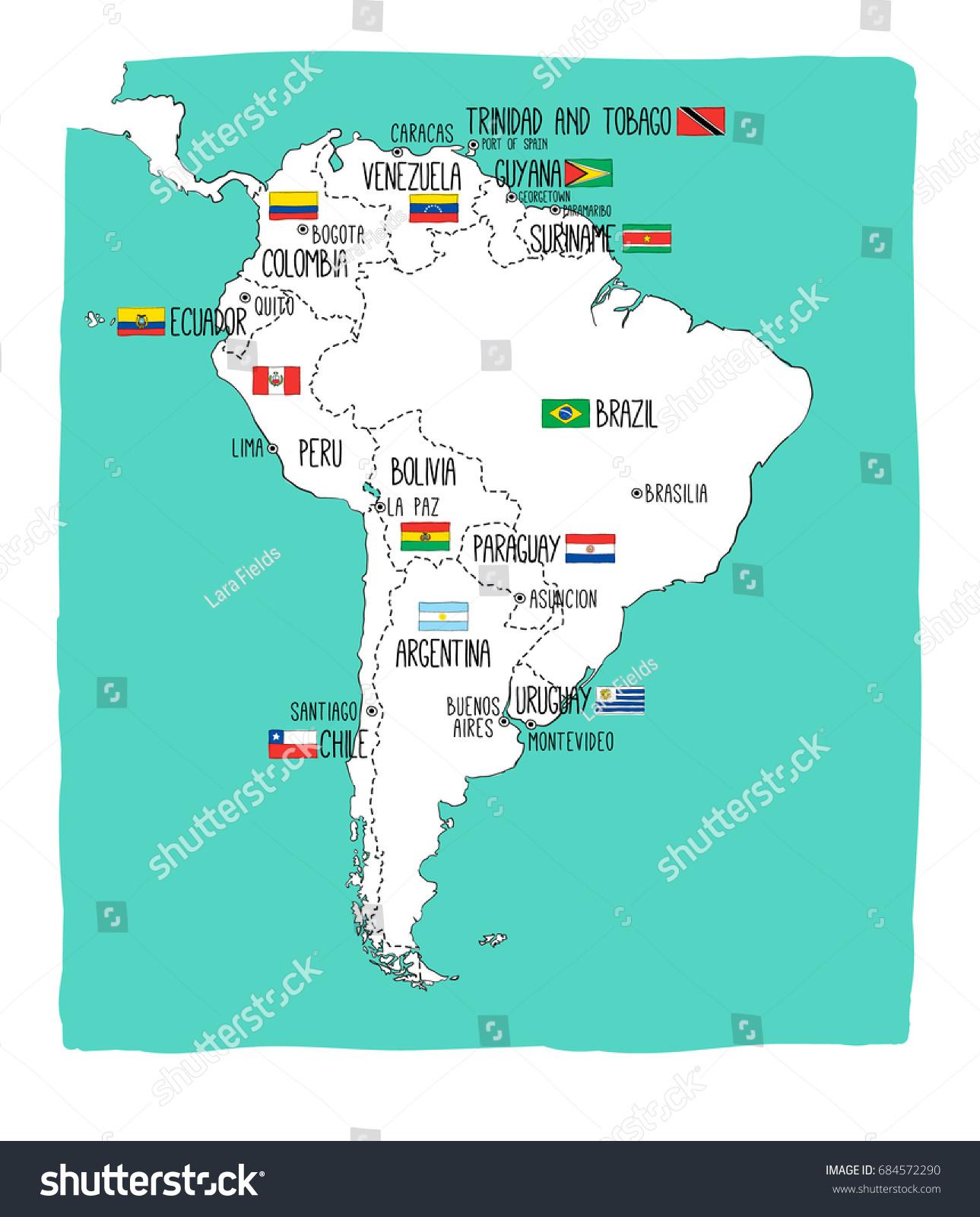 Hand Drawn Vector Map South America Stock Vector - Map of ecuador south america