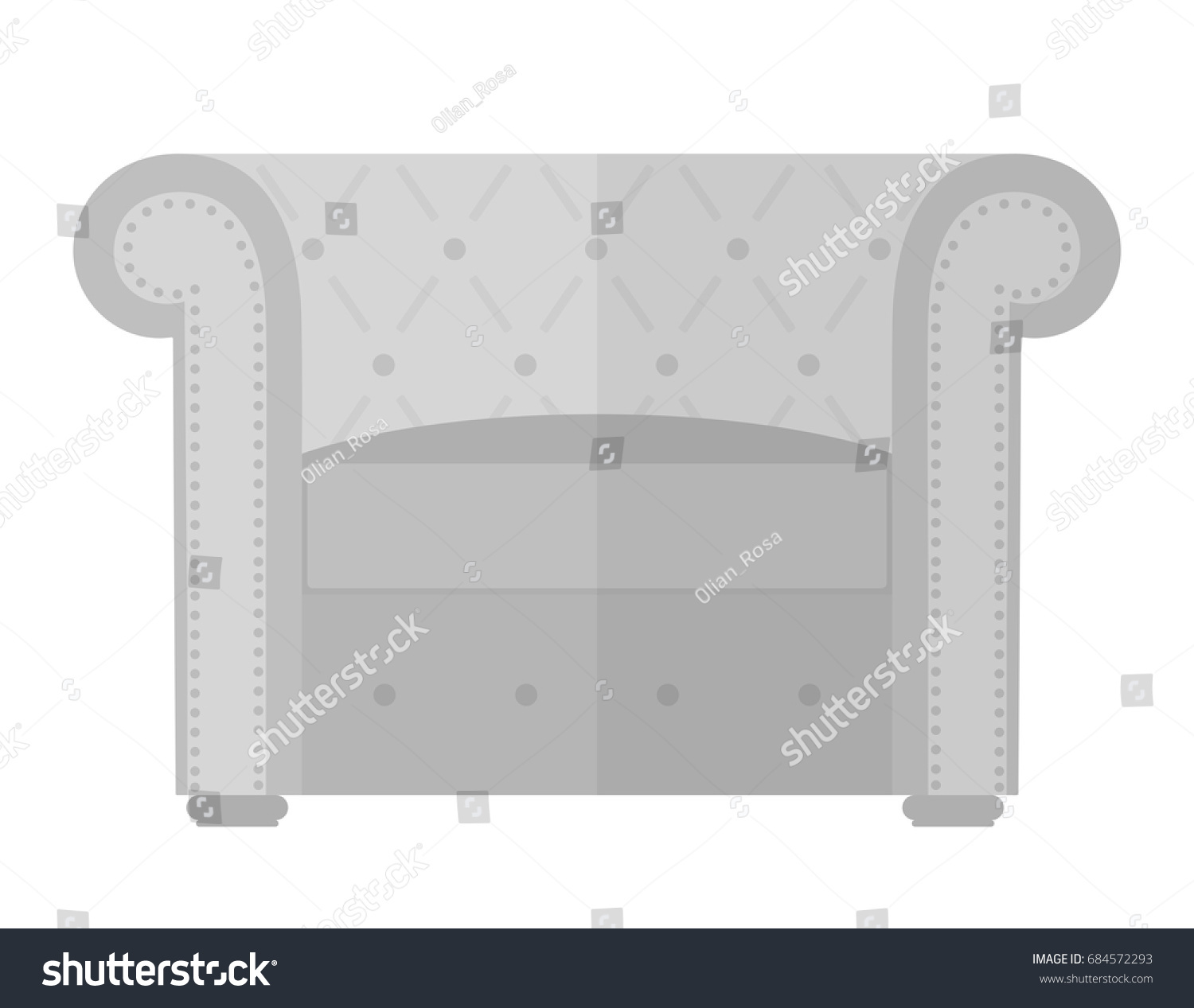 Vintage Armchair Chesterfield Interior Design Elements Furniture Isolated On White Background