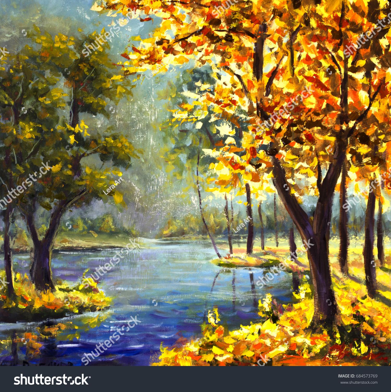 Original Oil Painting Autumn Gold Trees Stock Illustration 684573769 ...