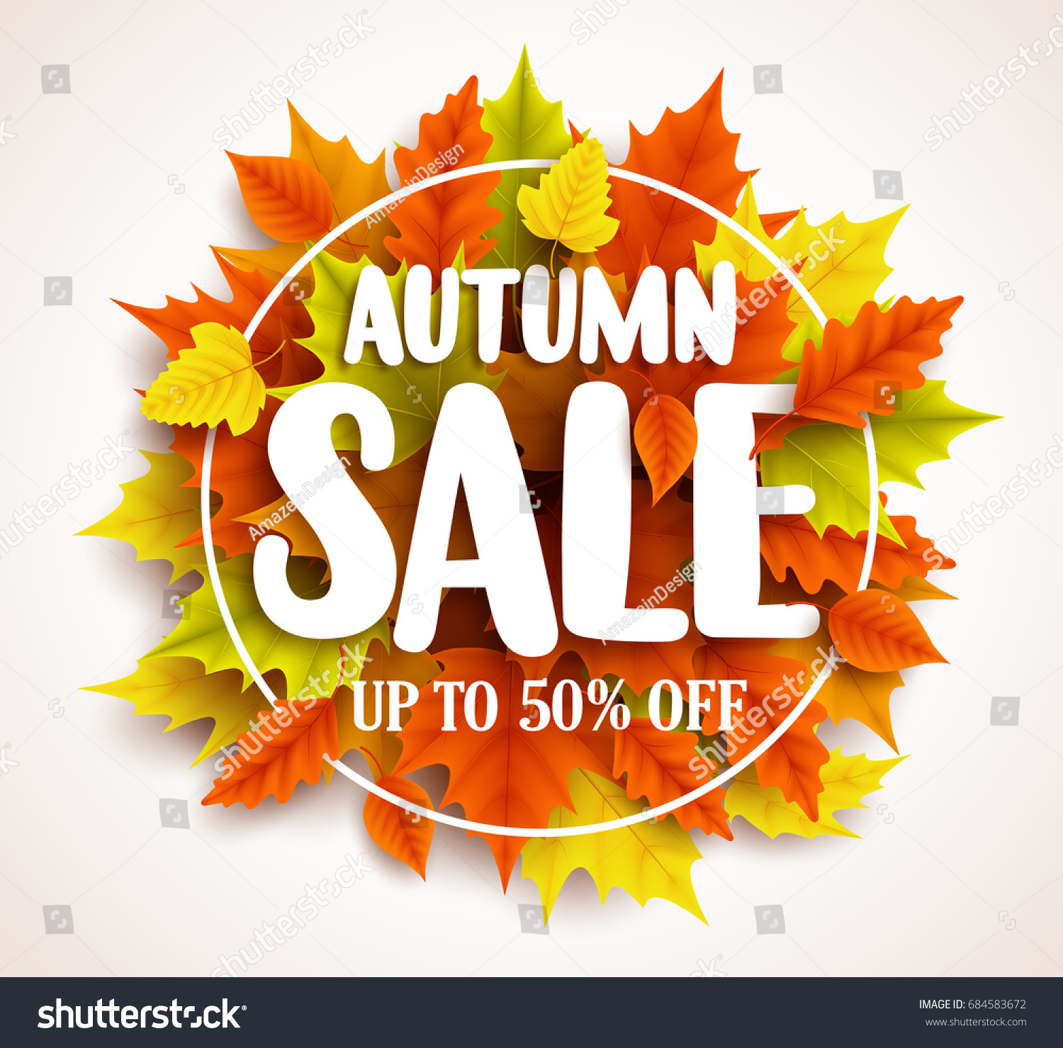 bright banner for autumn sale with autumn leaves on blue background