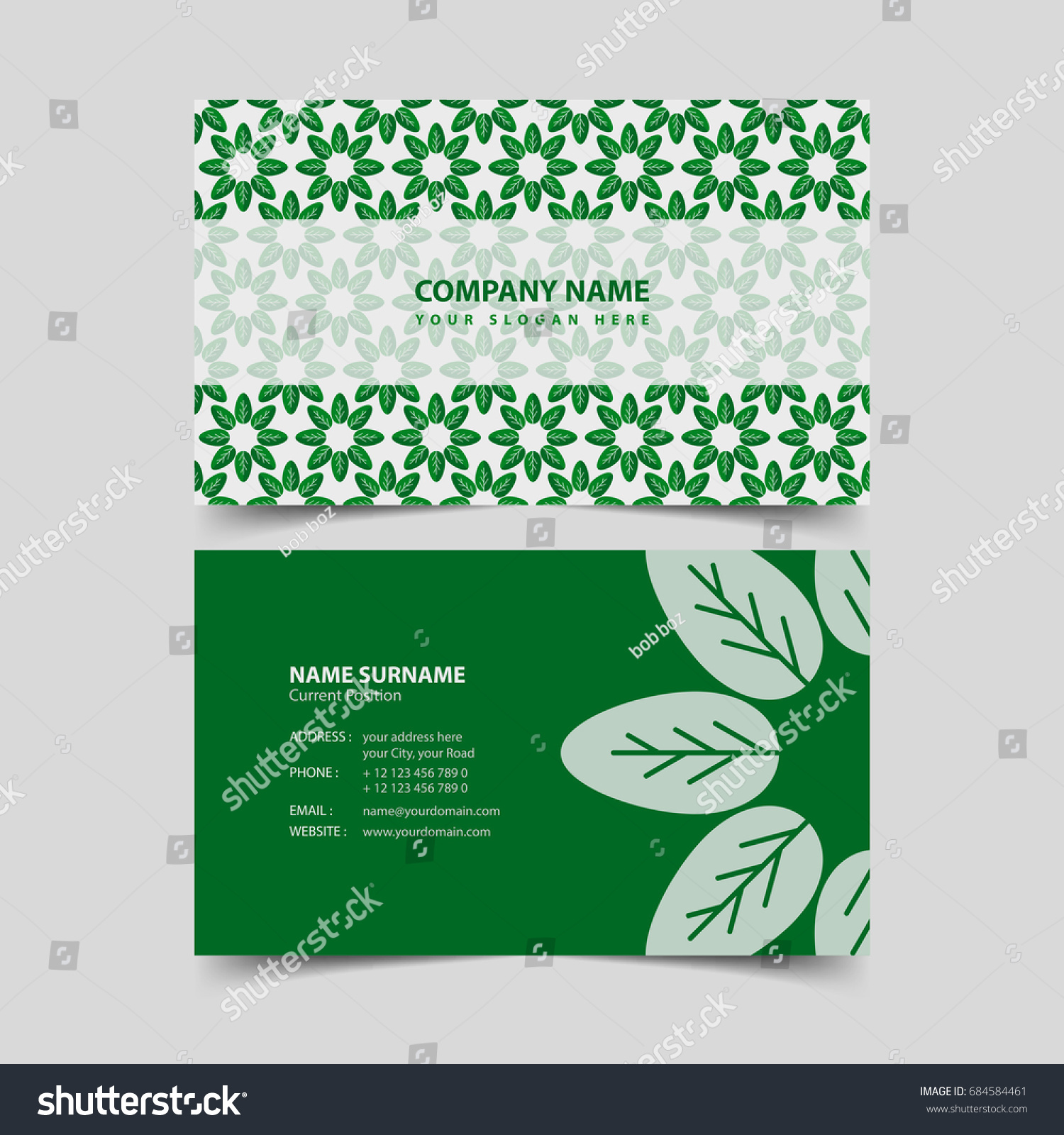 Eco Friendly Business Card Design Template Stock Vector 684584461 ...