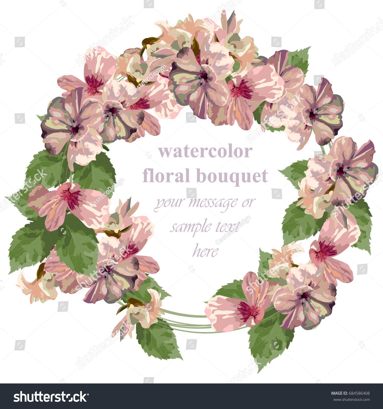 Vintage Round Crown Summer Flowers Blossom Card Frame Spring Season