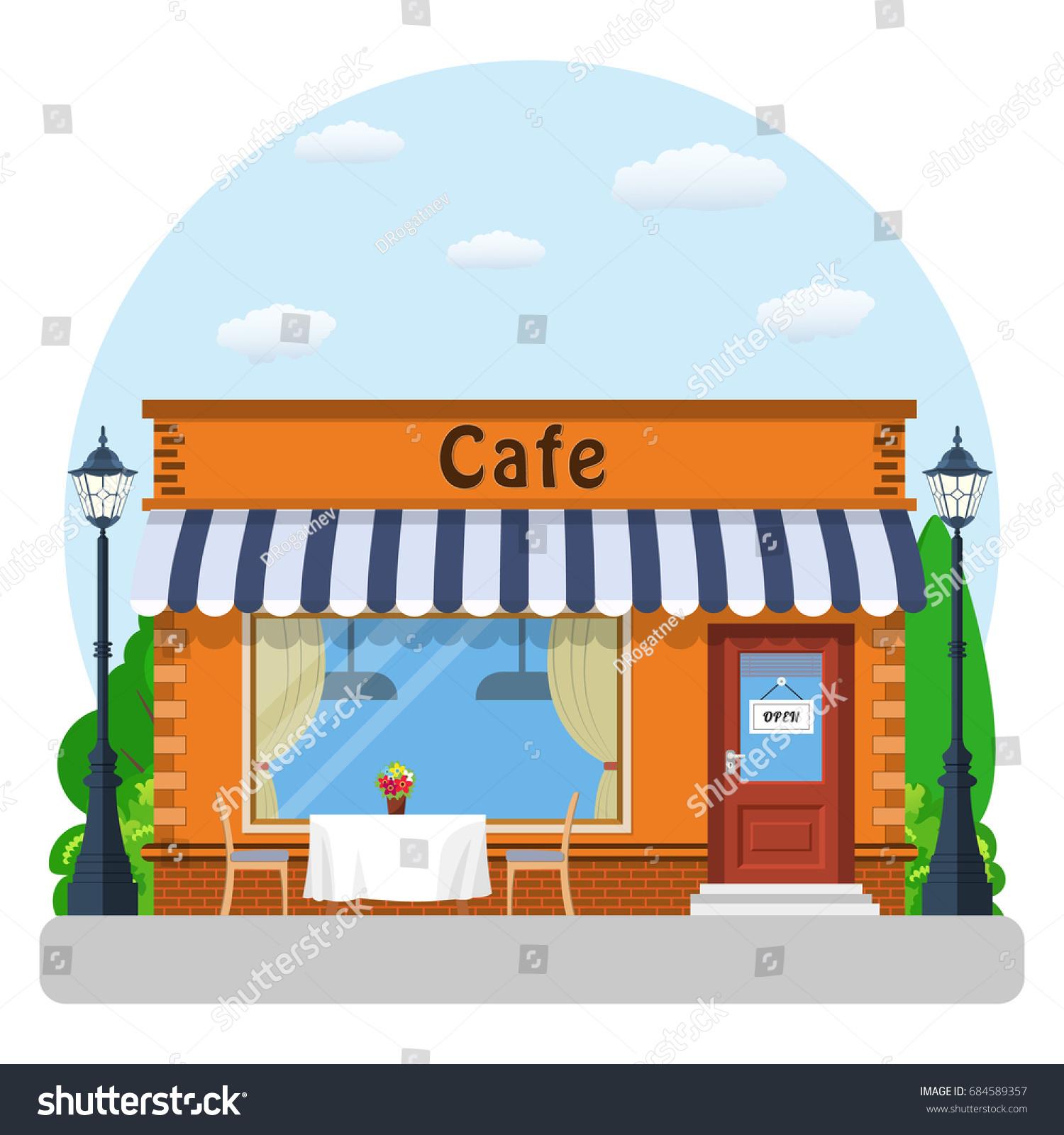 Vector De Stock Libre De Regalias Sobre Cafe Shop Exterior Street Restraunt Building684589357